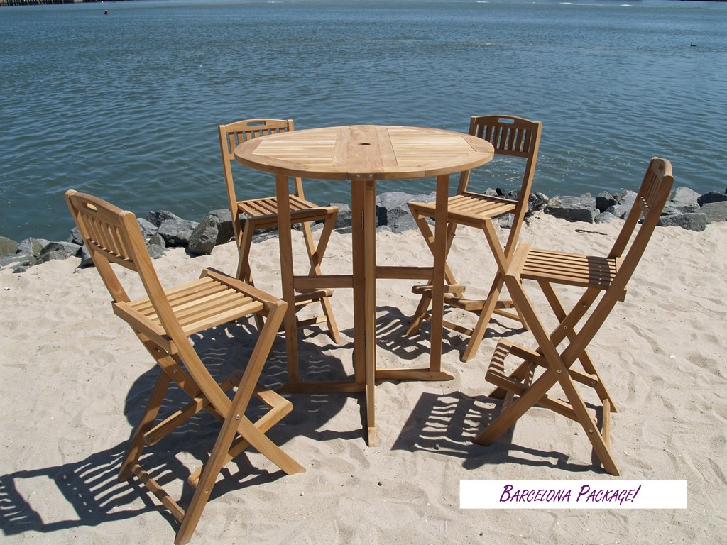 "Bimini 39"" Round Drop Leaf Folding Counter Table W/4 Mallorca Folding Counter Chairs (Counter height is 5"" lower than bar)"