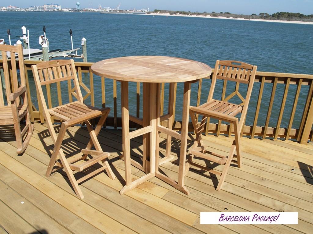"Nassau 39"" Round Drop Leaf Folding Teak Bar Table W/2 Mallorca Folding Teak Bar Chairs"