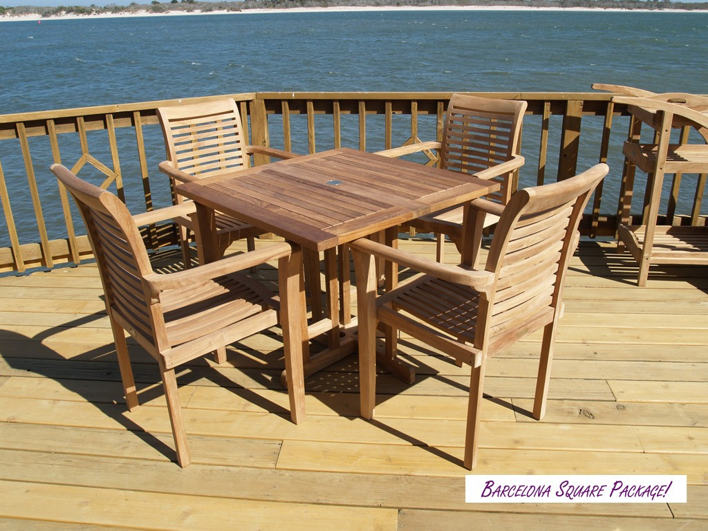 "Barcelona 35"" Square Drop Leaf Folding Teak Table W/4 Casa Blanca Teak Stacking Arm Chairs"