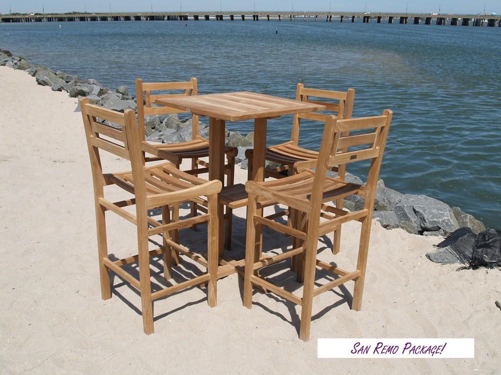 "San Remo 27"" Square Teak Bar Table W/Shelf & 4 Seville Teak Bar Chairs"