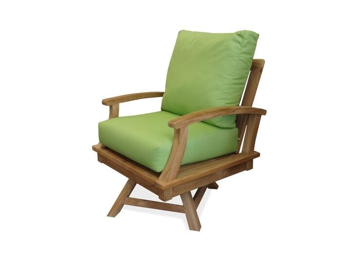 Portofino Deep Seating Teak Swivel Armchair w/ Sunbrella Cushions