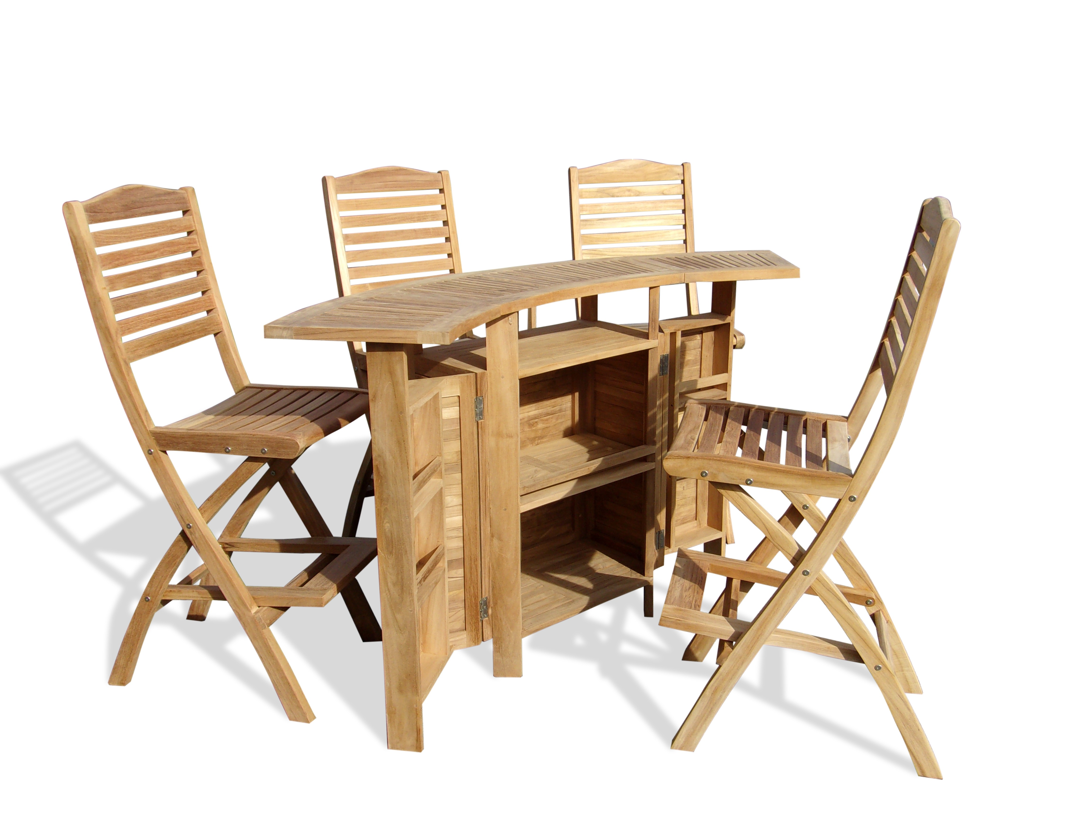 Grand Cayman Folding Teak Bar Table W/4 St. Barts Folding Teak Bar Chairs