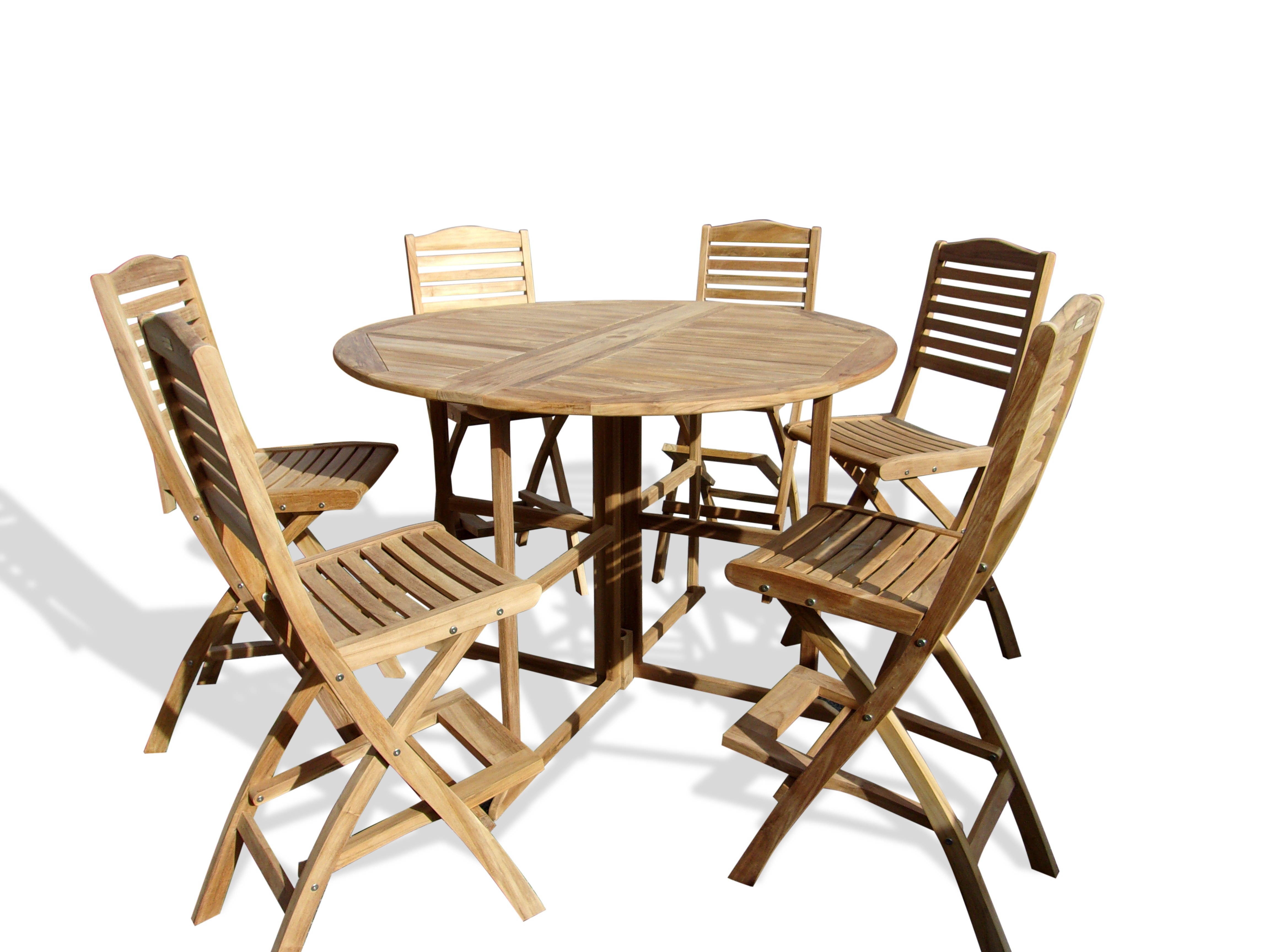 """Nassau 59"""" Round Drop Leaf Folding Bar Table W/6 St. Barts Folding Bar Chairs (Counter height is 5"""" lower than bar)"""