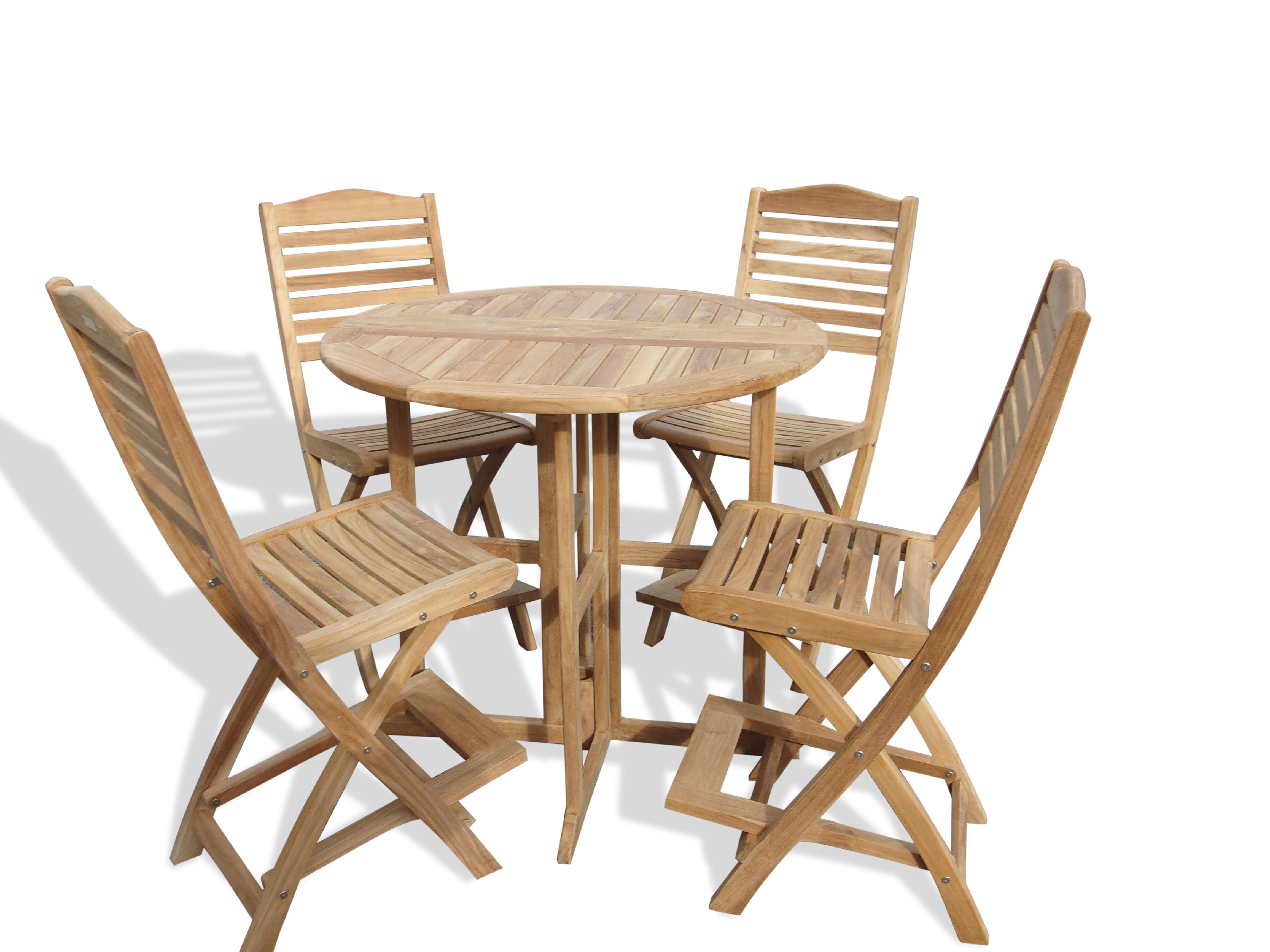 "Nassau 39"" Round Drop Leaf Folding Teak Bar Table W/4 St Barts Folding Bar Chairs (bar is 5"" higher then counter)"