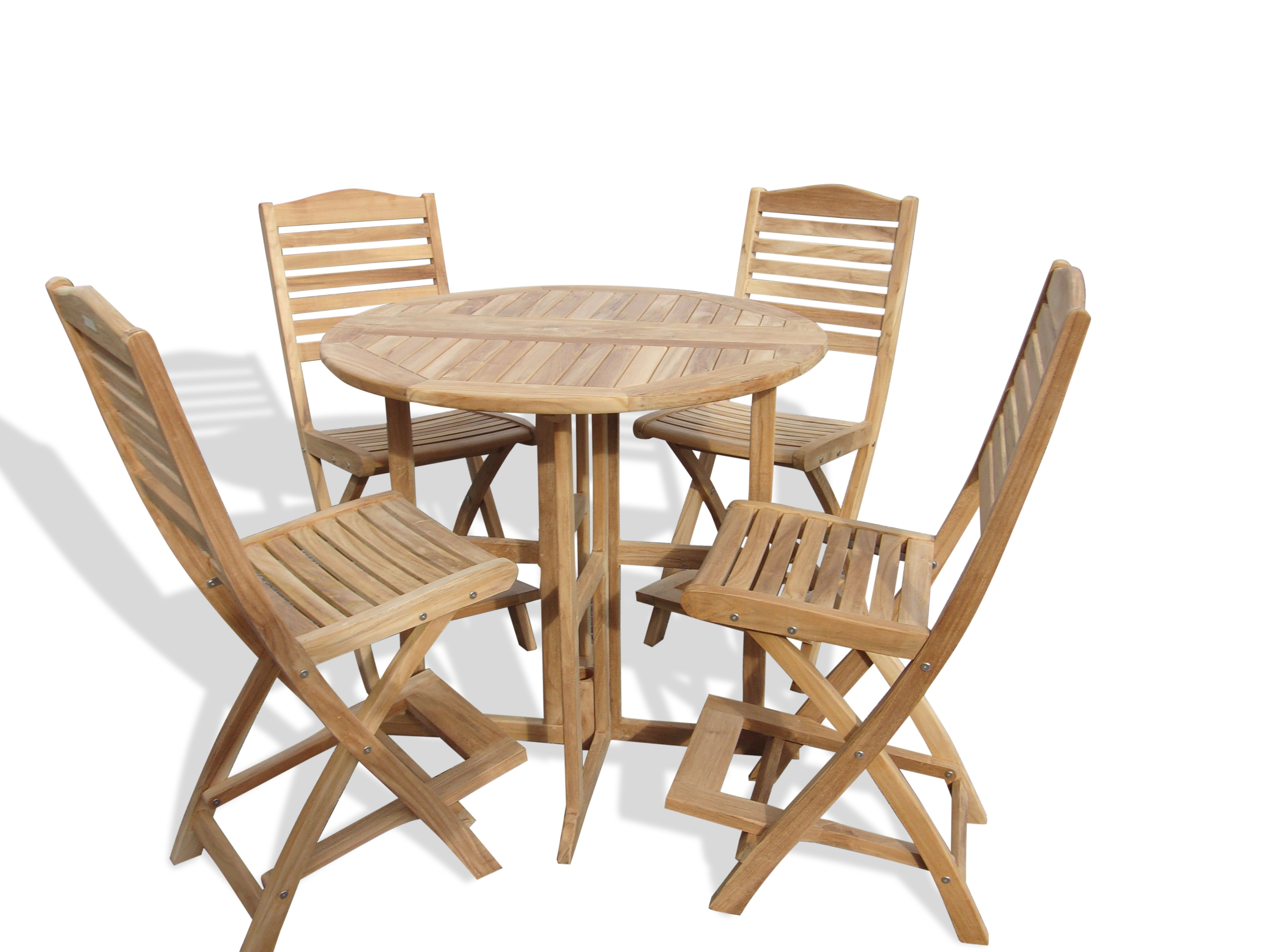 """Bimini 39"""" Round Drop Leaf Folding Counter Table W/4 St Barts Folding Counter Chairs (bar is 5"""" higher then counter)"""