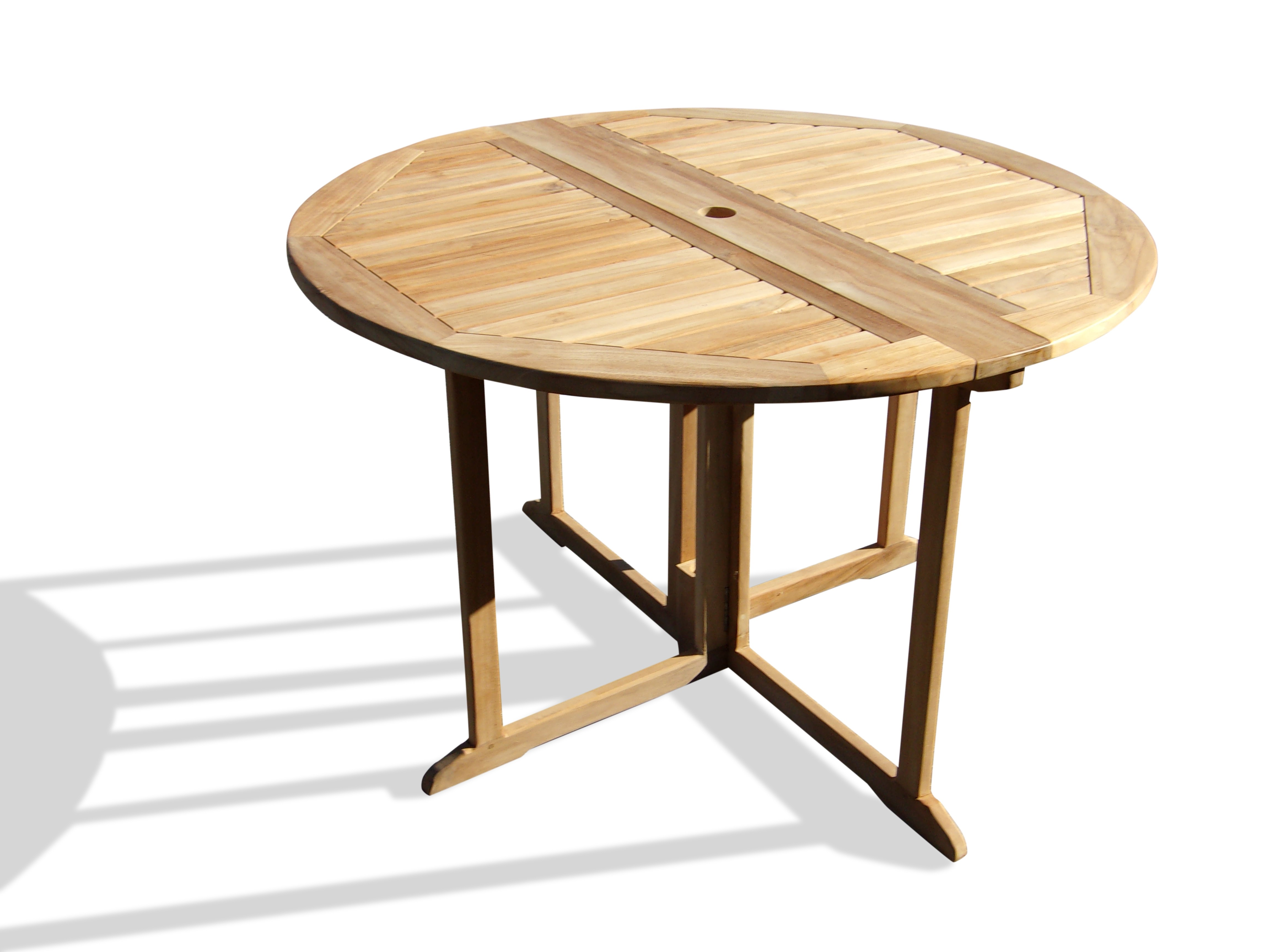 """Barcelona Round Drop Leaf Folding 47"""" Teak Dining Table ...use with 1 Leaf Up or 2.... Makes 2 different tables..."""