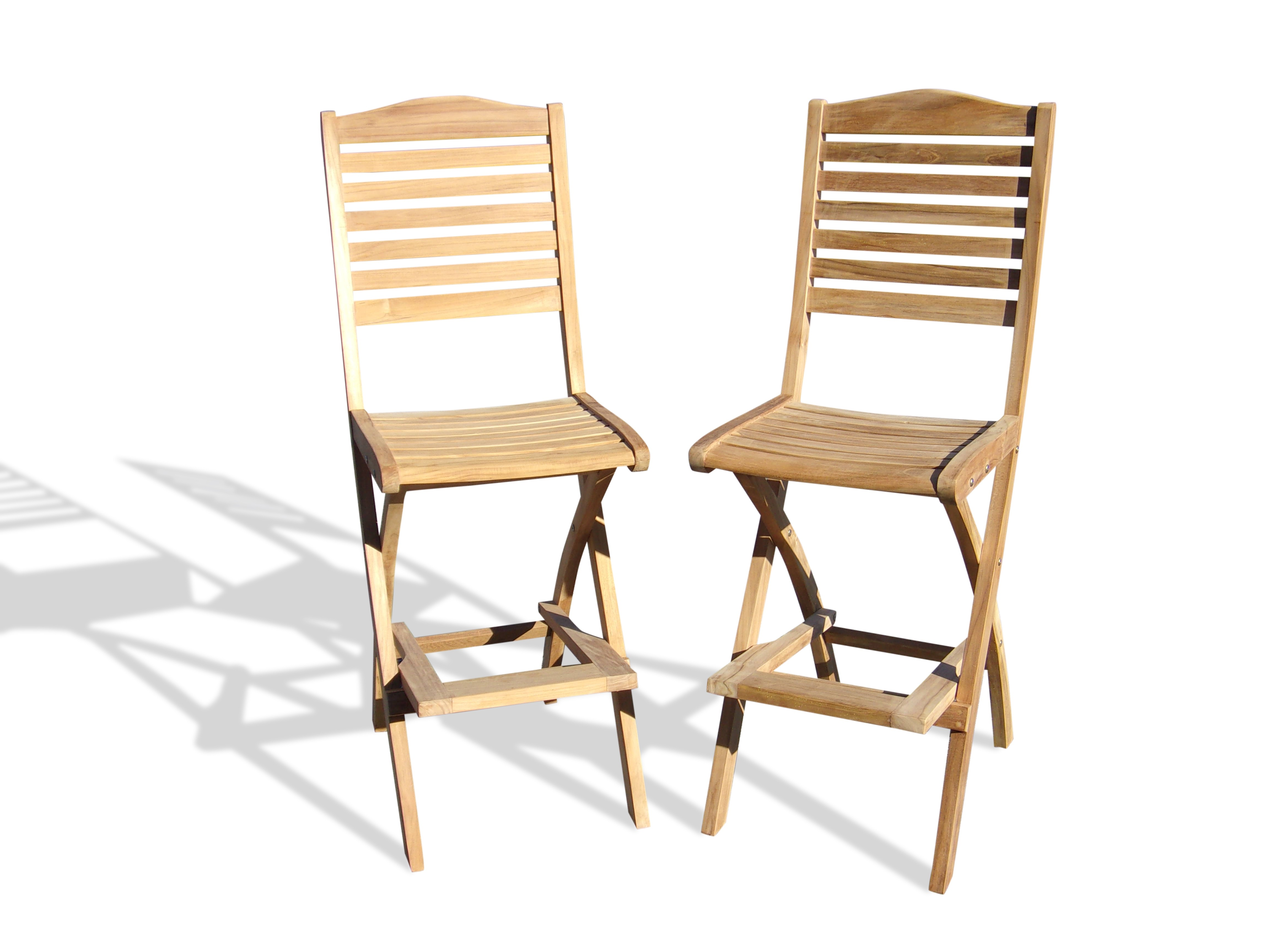 St. Barts Teak Folding Bar Chair Priced and Packed 2 Per Box