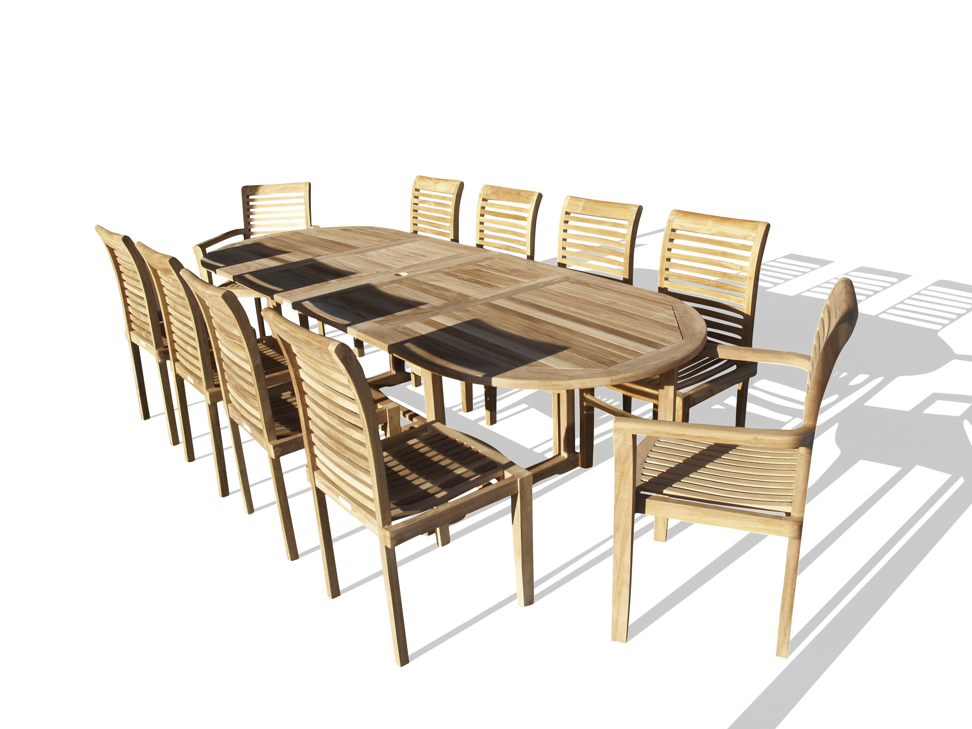 "Buckingham 108"" x 39"" Oval Double Leaf Extension Teak Table W/10 Casa Blanca Stacking Chairs- 2/w Arms & 8 w/o Arms..seats 10"