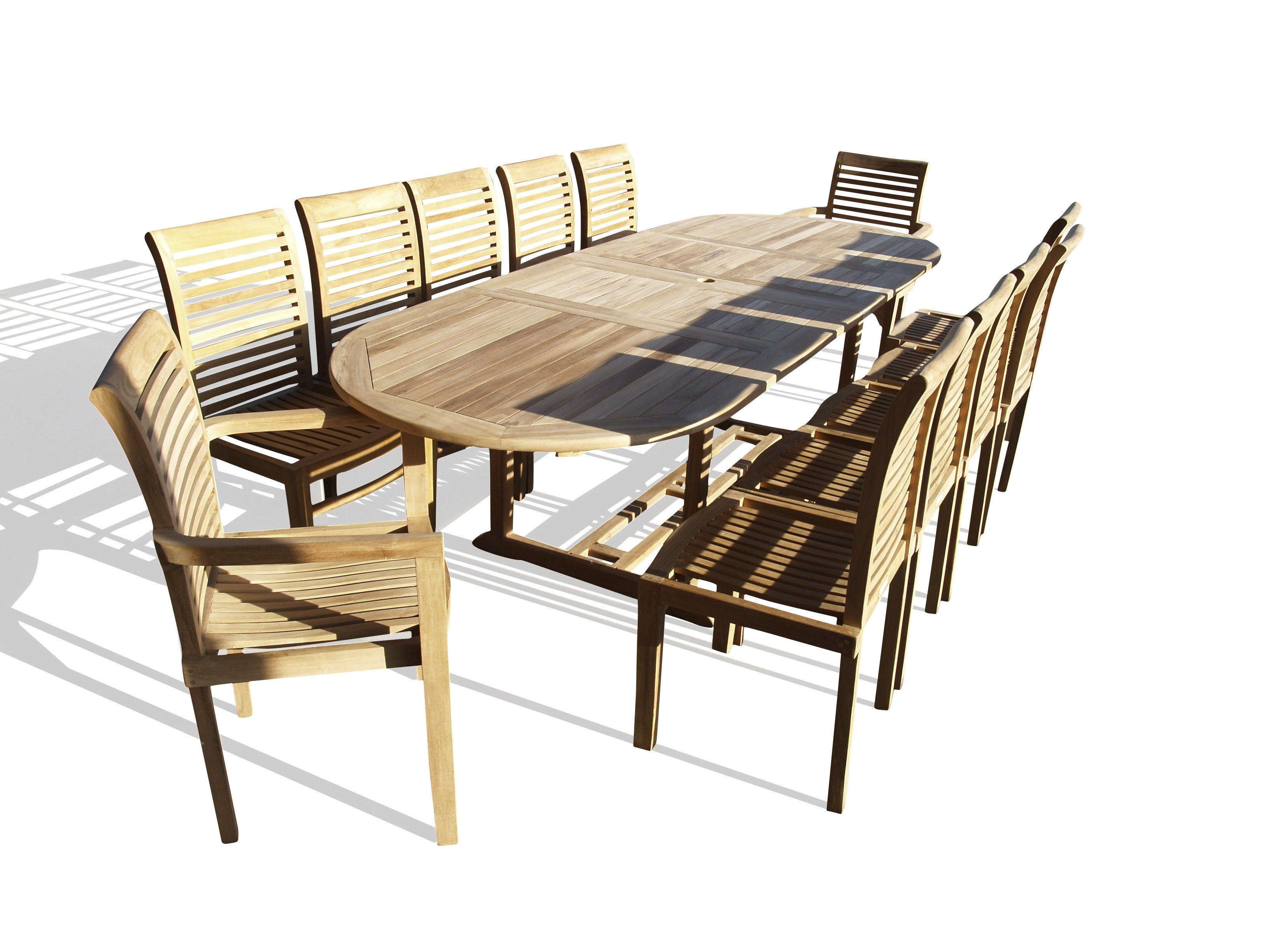 """Buckingham 108"""" x 39"""" Oval Double Leaf Teak Extension Table...Seats 12...makes 3 Different Size Tables"""