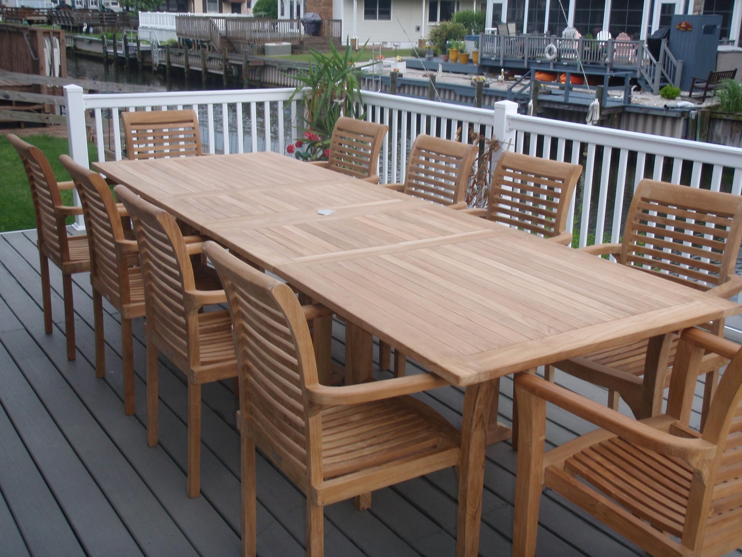 "Buckingham 108"" x 39"" Rectangular Double Leaf Teak Extension Table...Seats 12...makes 3 Different Size Tables"