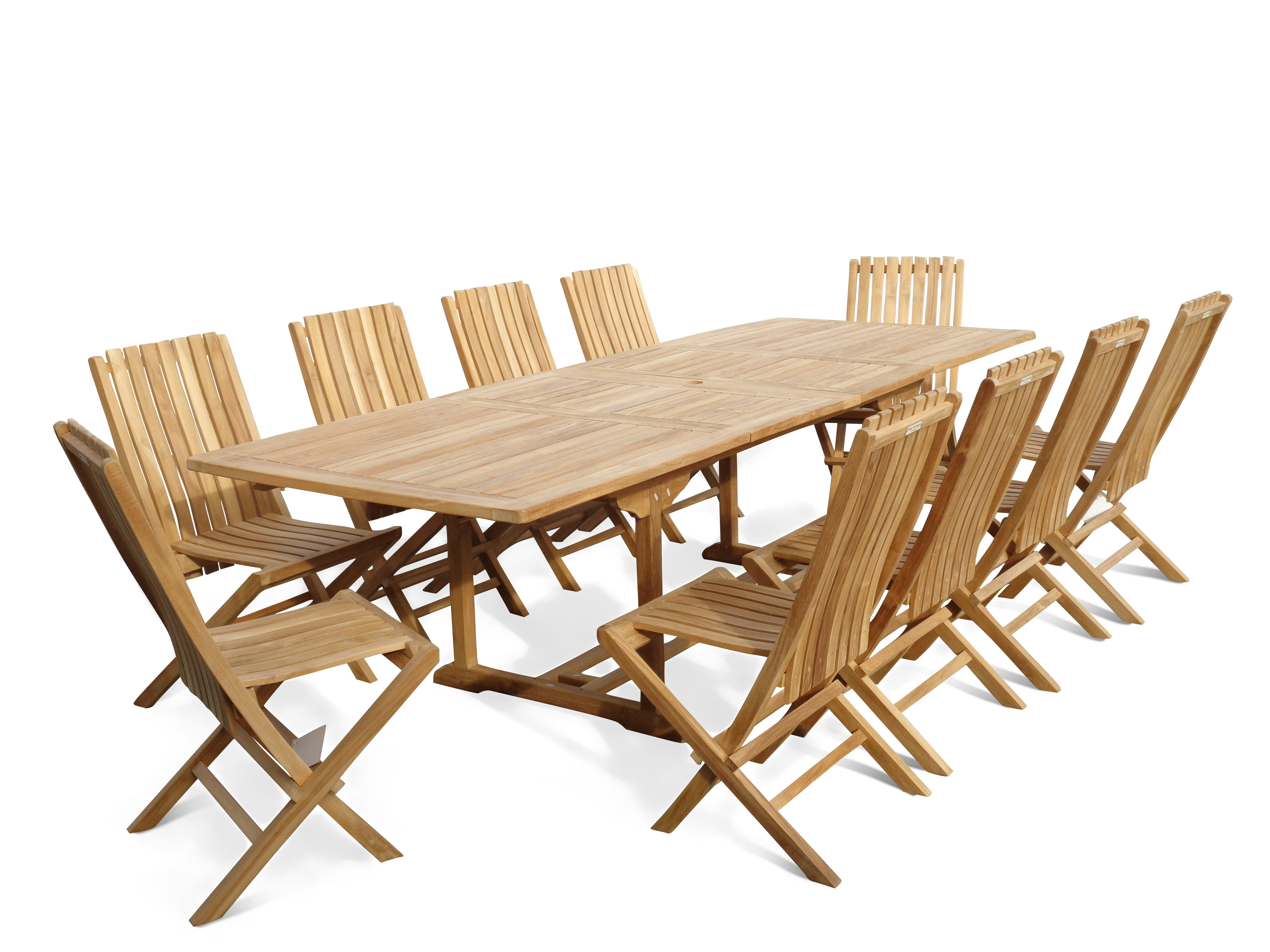 "Buckingham 108"" x 39"" Rectangular Double Leaf Extension Teak Table (9 Foot Long) W/ 10 Java Folding Chairs w Lumbar Support"