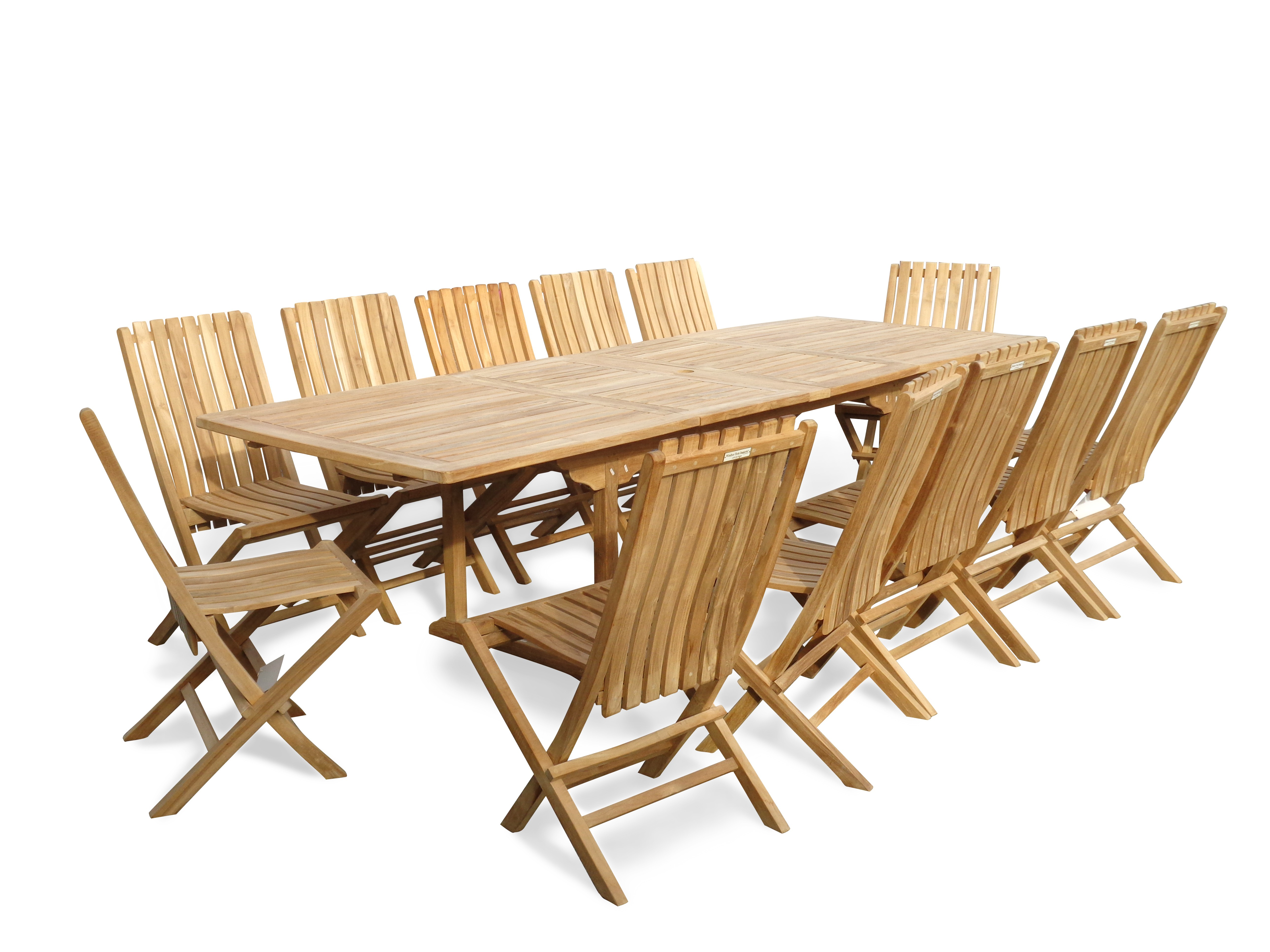 "Buckingham 108"" x 39"" Rectangular Double Leaf Extension Teak Table (9 Foot Long) W/ 12 Java Folding Chairs w Lumbar Support"