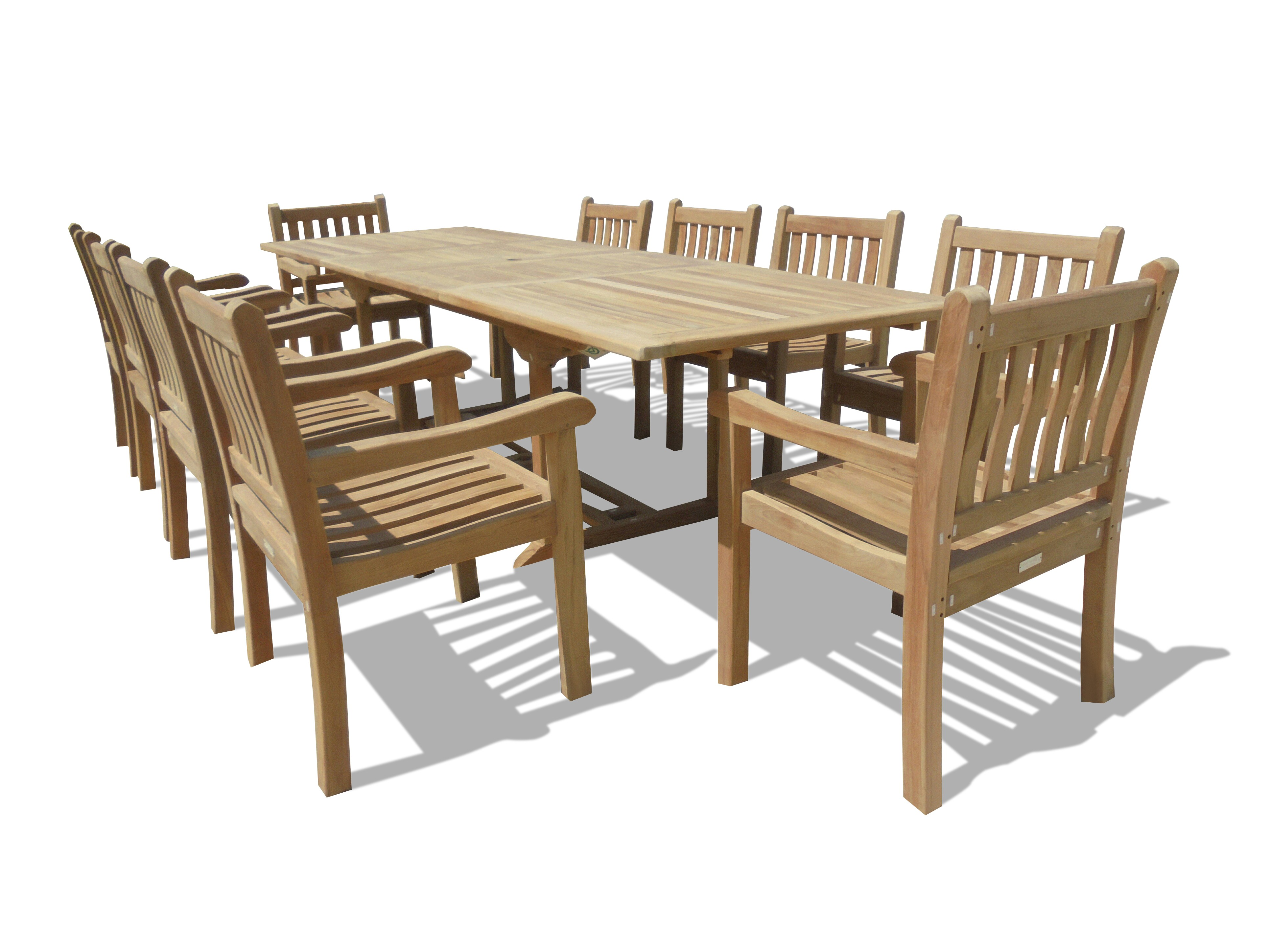 "Buckingham 118"" x 39"" Double Leaf Extension Teak Table w/10 Majestic Windsor Arm Chairs"
