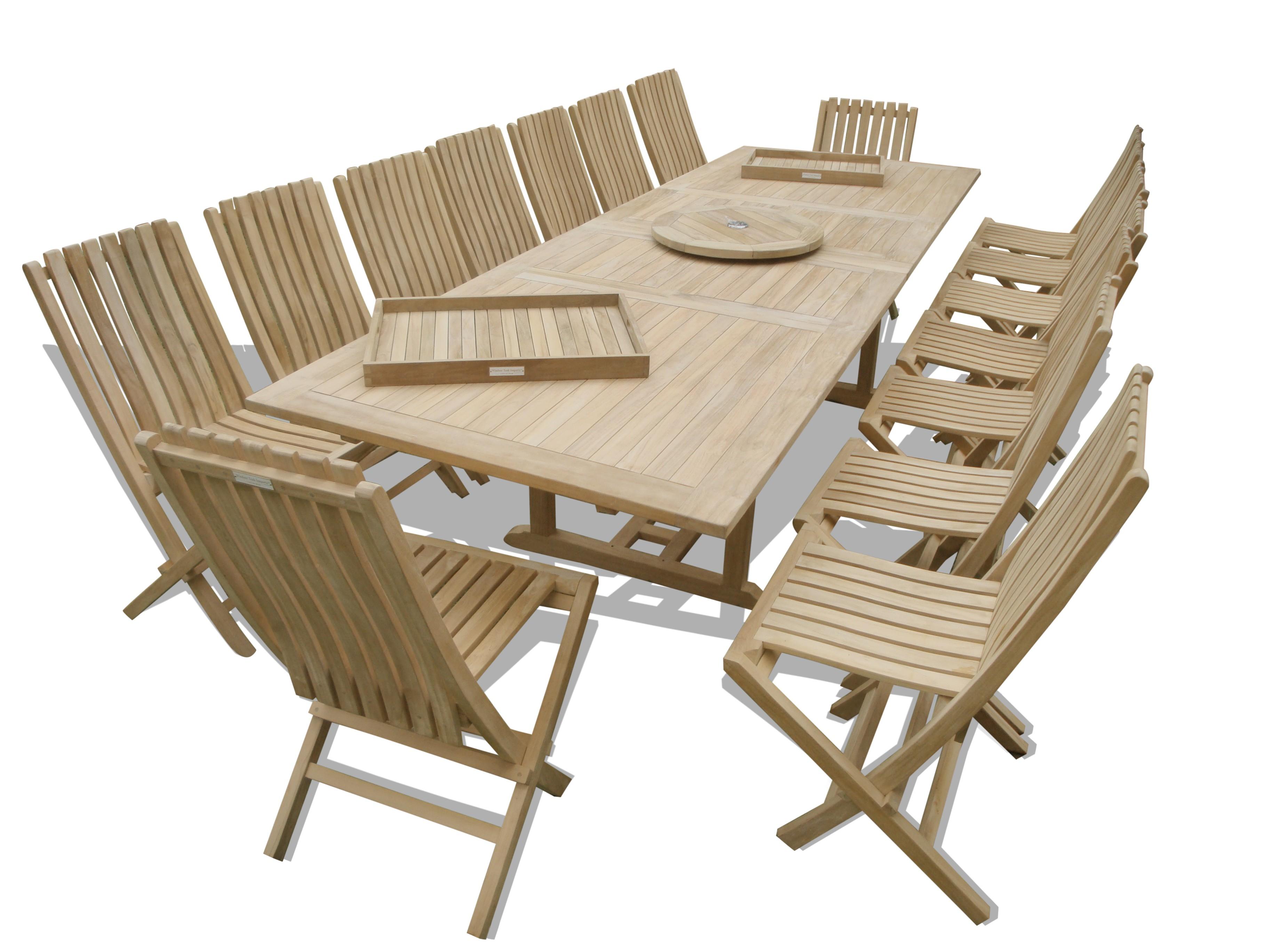 "Buckingham 138"" x 39"" Rectangular Double Leaf Extension Teak Table W/ 16 Java Folding Chairs w Lumbar Support"