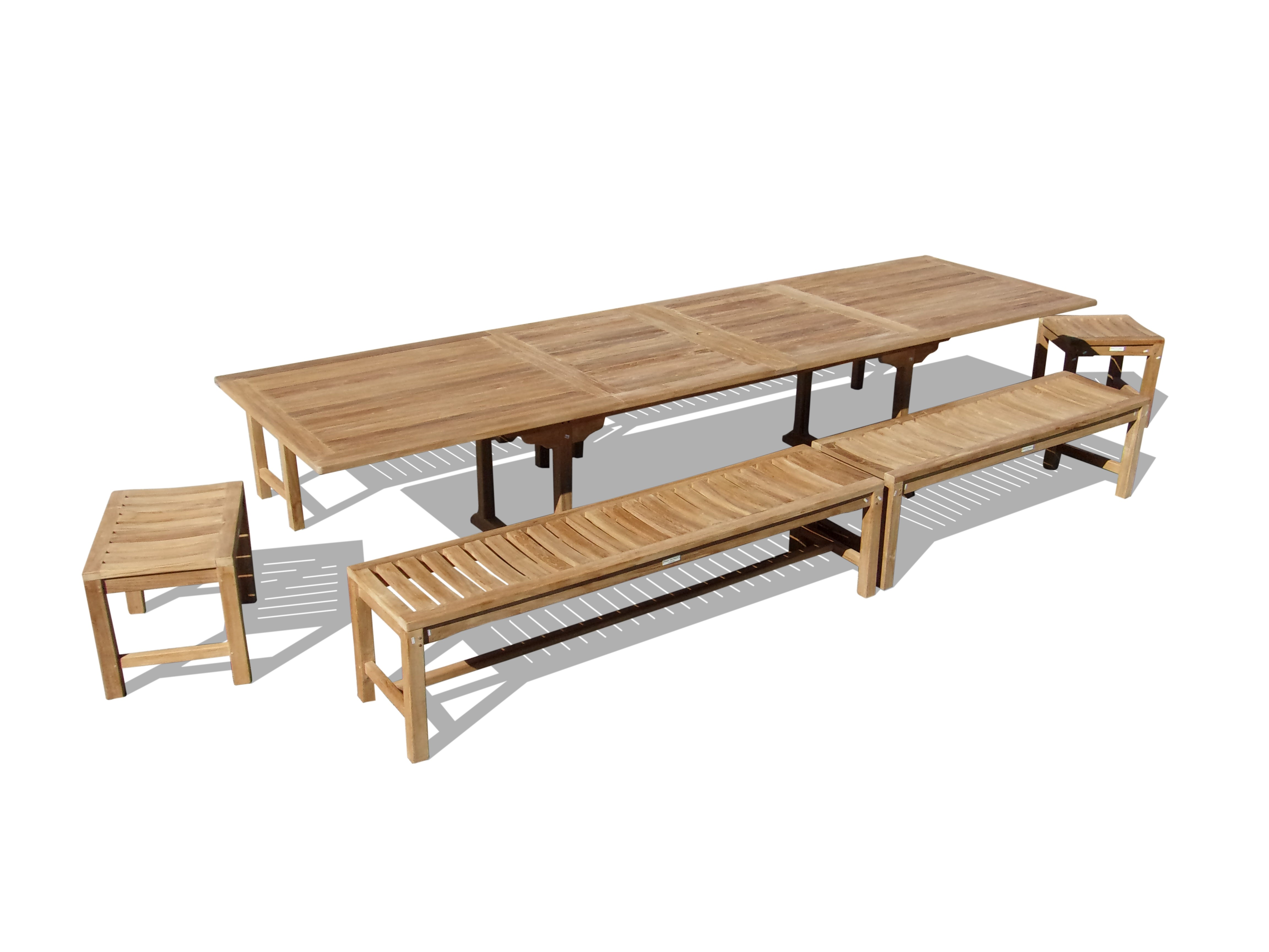 "Buckingham 138"" x 39"" (11 1/2 Feet Long) Double Leaf Rectangular Extension Table w/6 Backless Benches...Seats 16 Adults"
