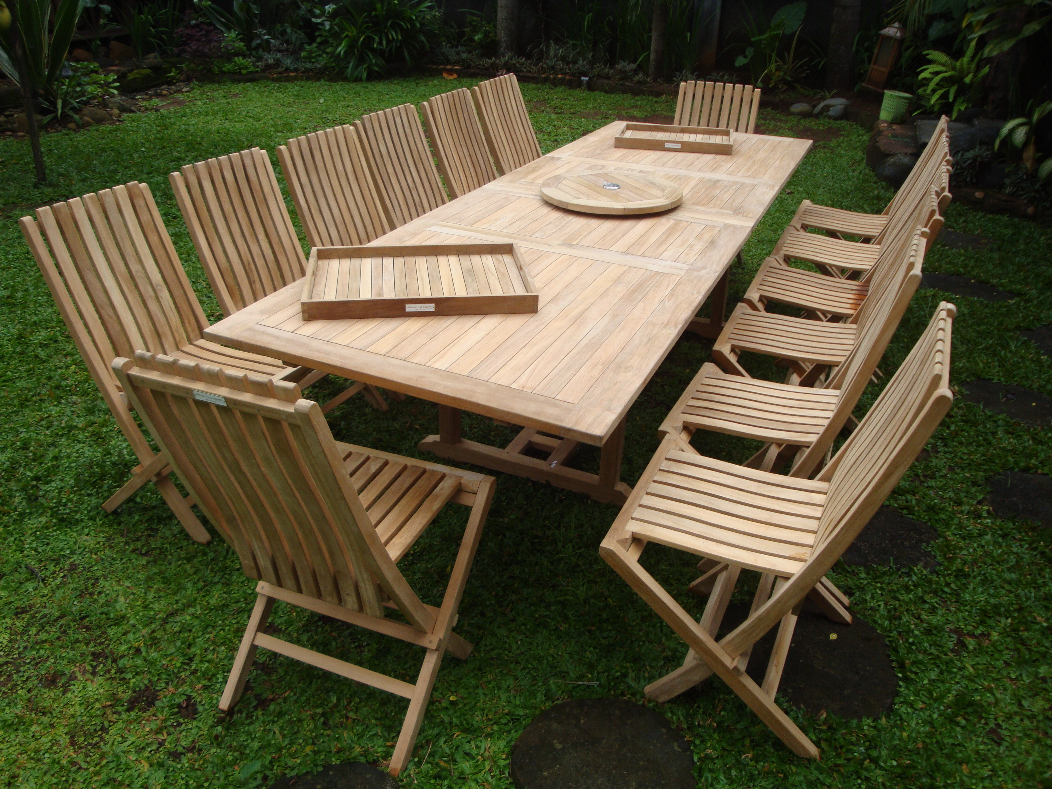 "Buckingham 118"" x 39"" Double Leaf Extension Teak Table W/14 Java Folding Chairs w/ Lumbar Support"