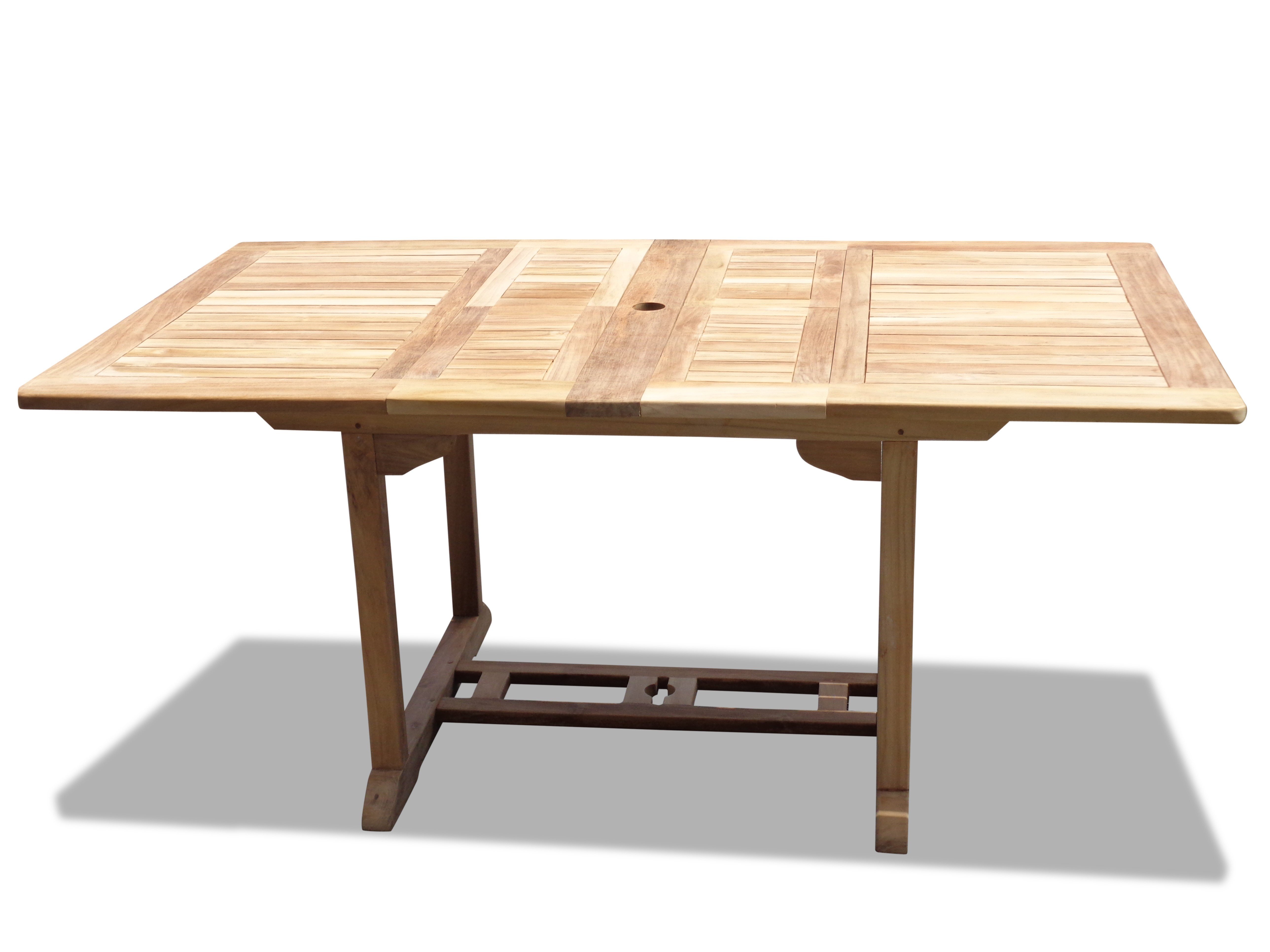 "Buckingham 66"" x 39"" Double Leaf Rectangular Teak Extension Table...Seats 8...makes 3 Different Size Tables"