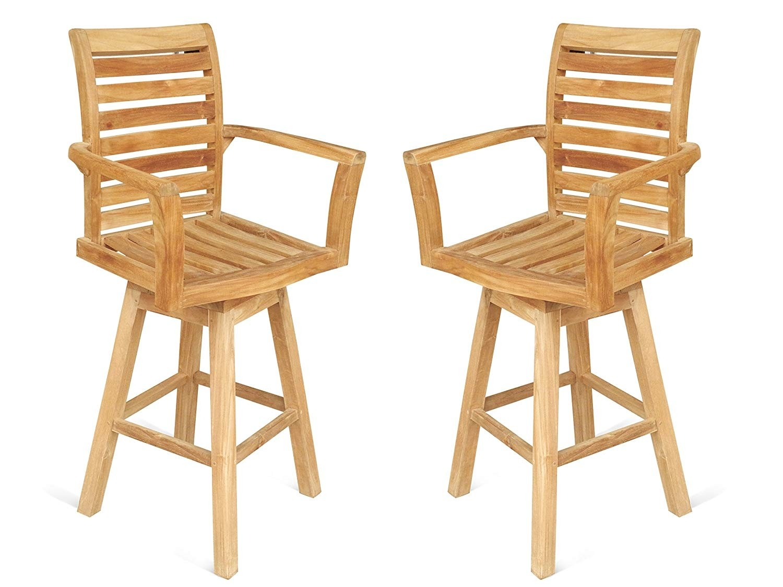 St. Moritz Teak Swivel Bar Arm Chair. 2 Pack