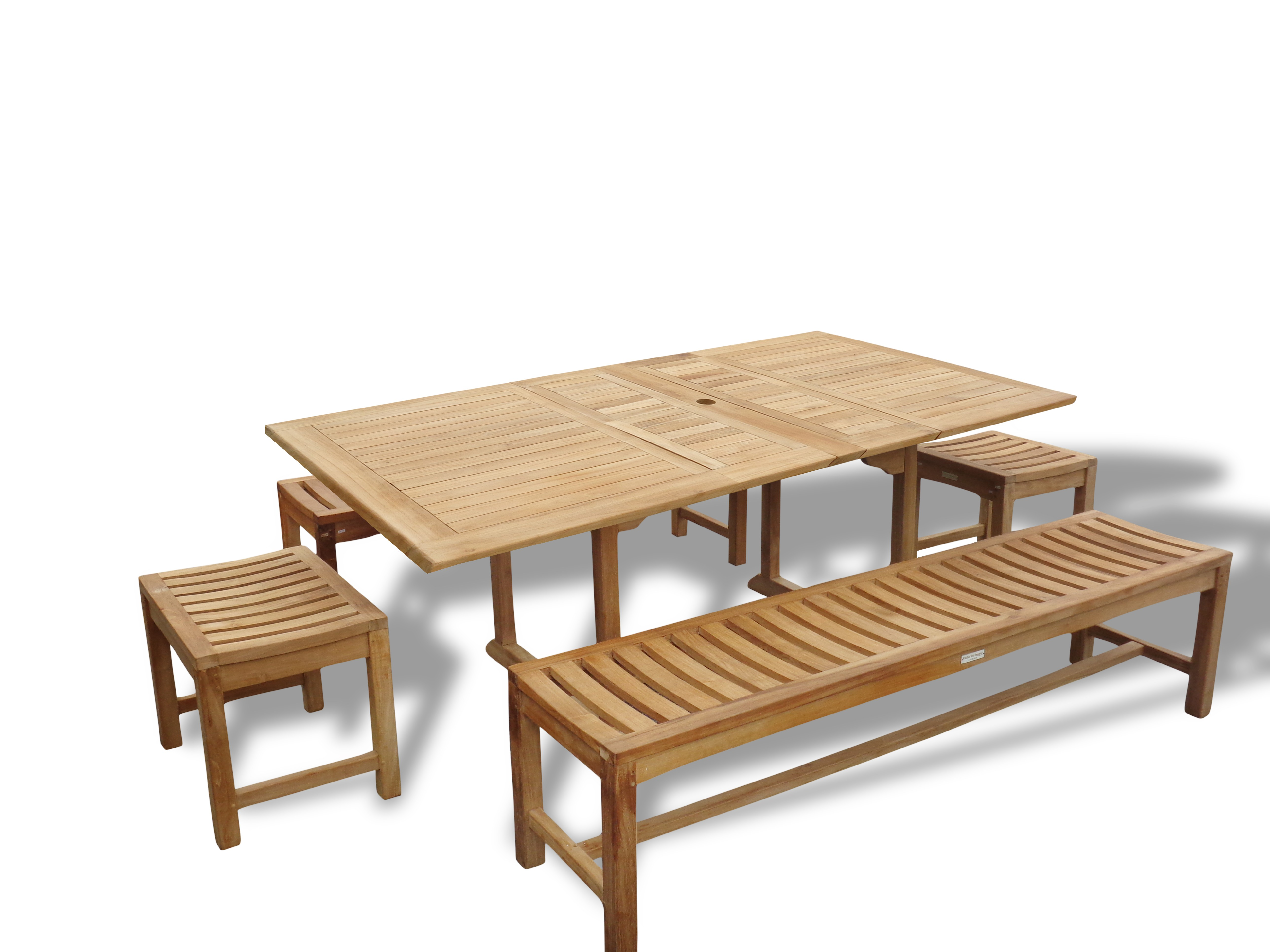 "Buckingham 82"" x 39"" Double Leaf Rectangular Extension Table w Two 72"" & Two 18"" Backless Benches...Seats 8-10"