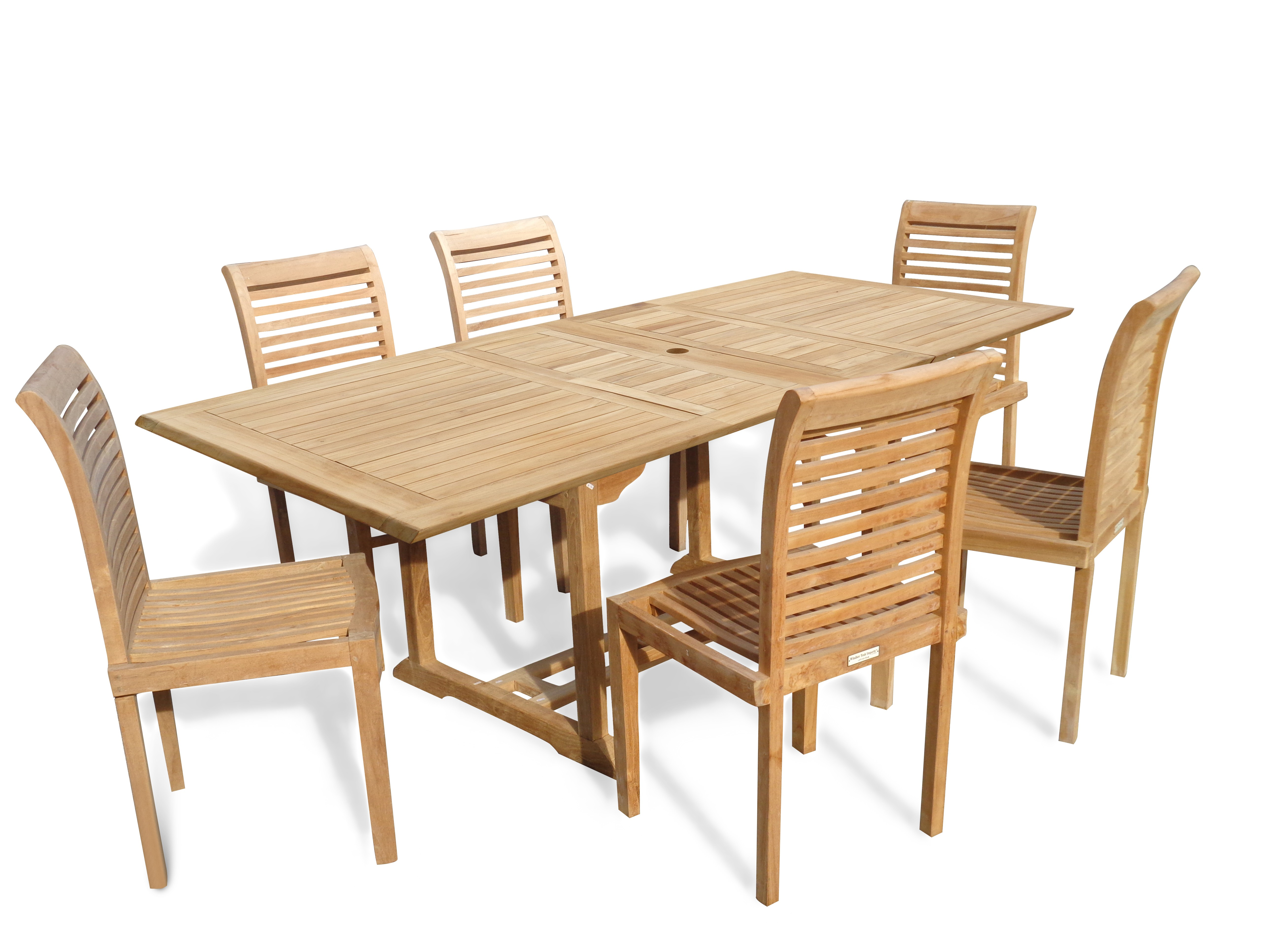 "Buckingham 82"" x 39"" Double Leaf Rectangular Extension Teak Table W/ 6 Casa Blanca Armless Stacking Chairs."