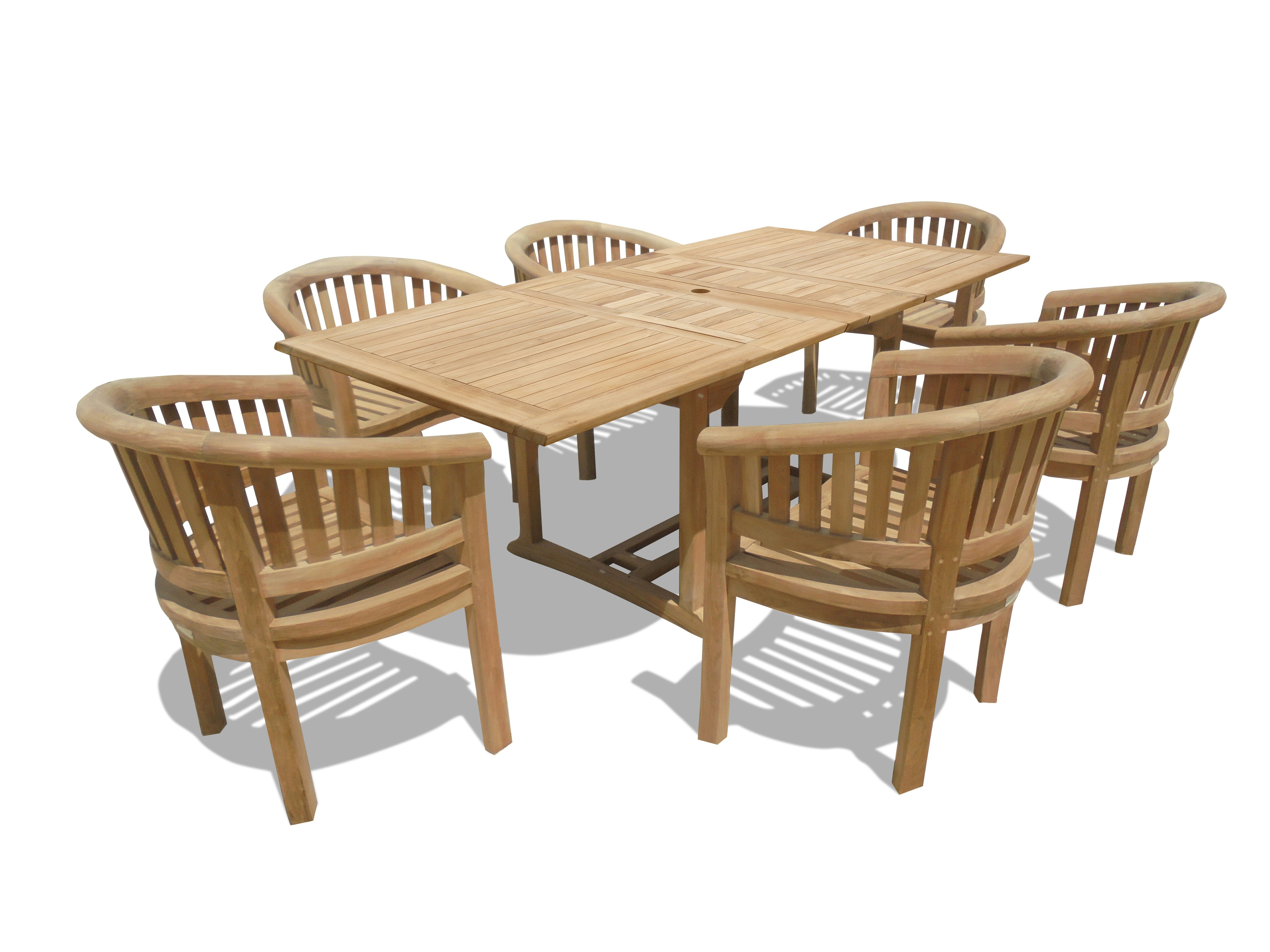 "Buckingham 82"" x 39"" Rectangular Double Leaf Teak Extension Table W/6 Impressive Kensington Curved Arm Chairs...seats 6"