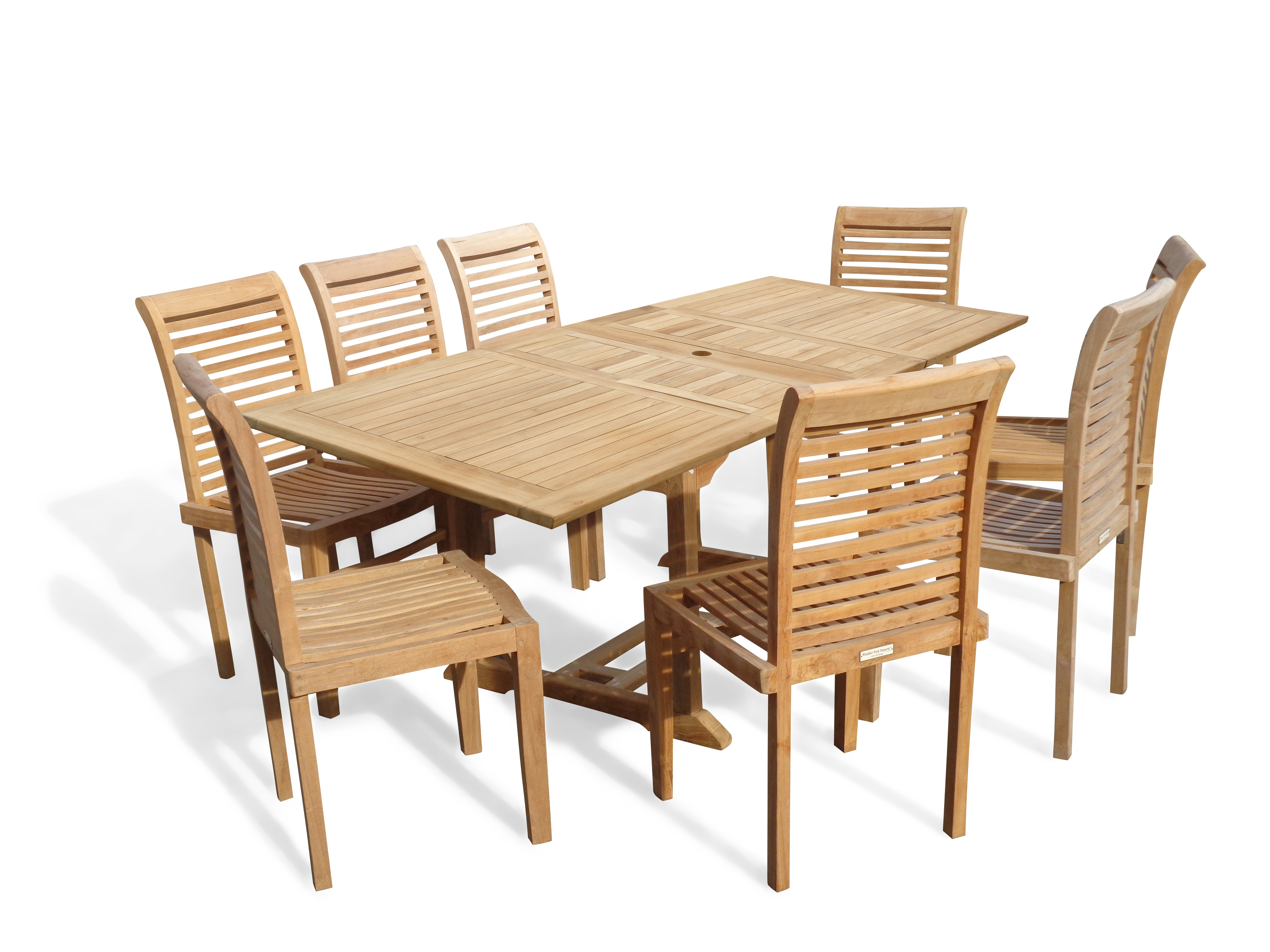 "Buckingham 82"" x 39"" Double Leaf Rectangular Extension Teak Table W/8 Casa Blanca Armless Stacking Chairs."