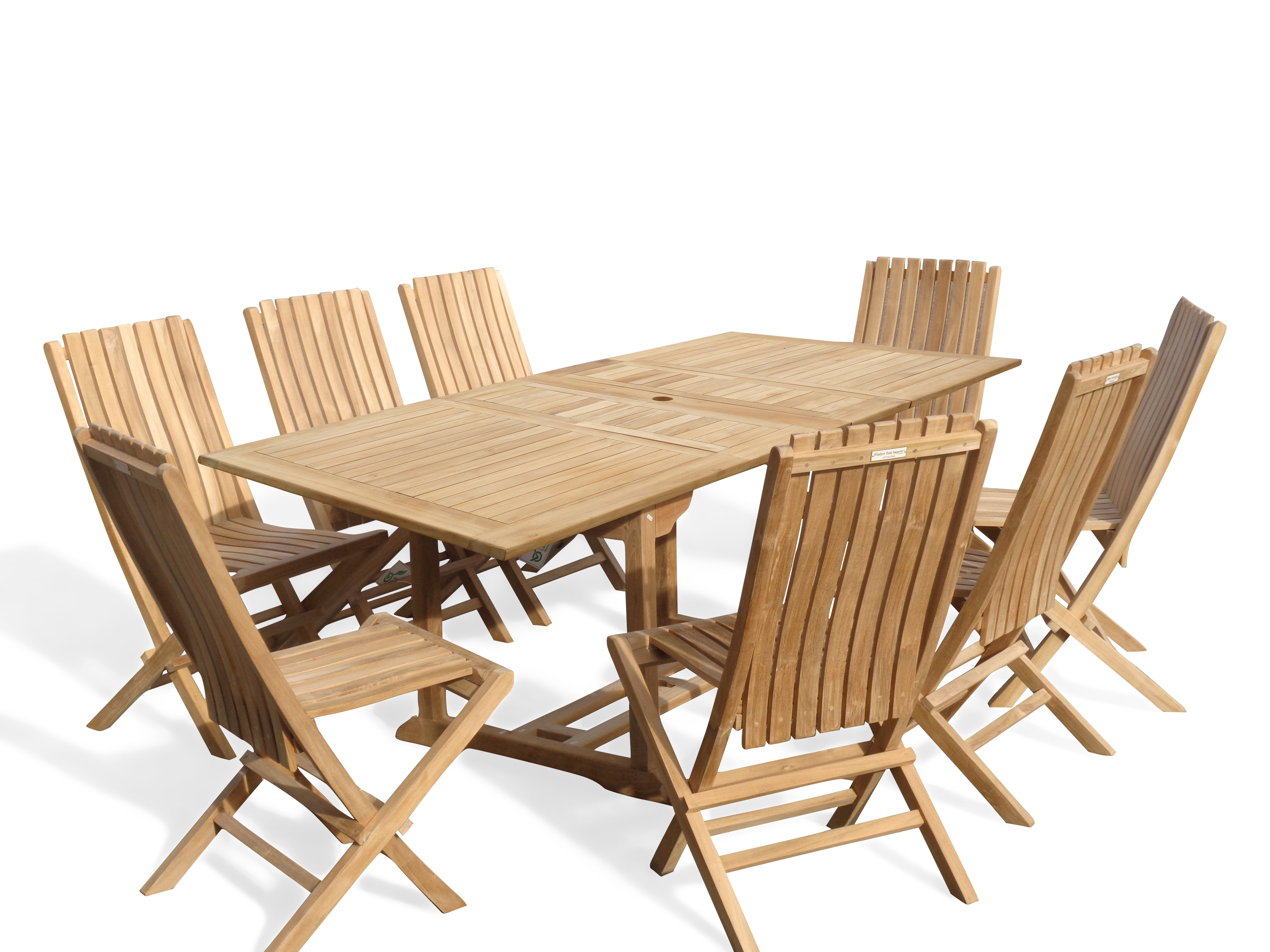 "Buckingham 82"" x 39"" Double Leaf Rectangular Extension Teak Table W/8 Java Folding Chairs w/ Lumbar Support ."