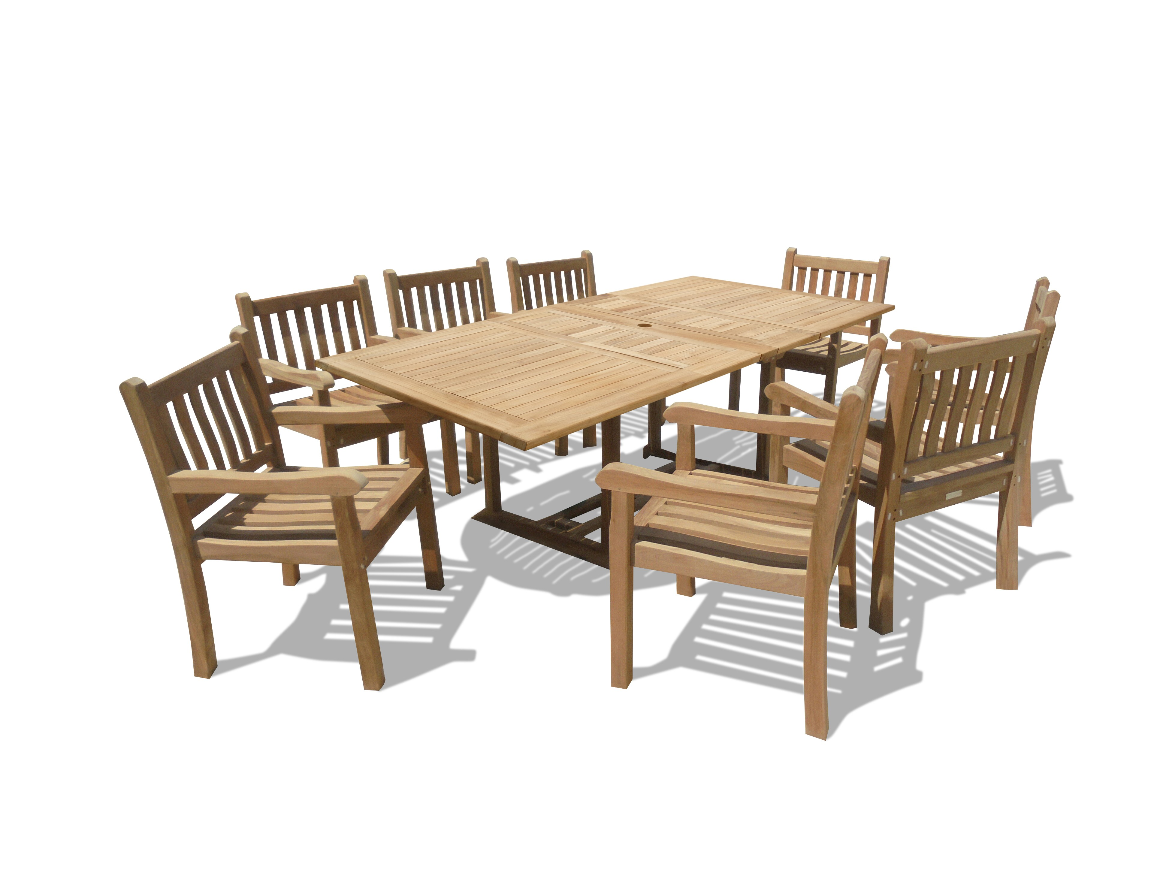 "Buckingham 82 x 39"" Rectangular Double Leaf Teak Extension Table w/ 8 Majestic Windsor Arm Chairs...seats 8"