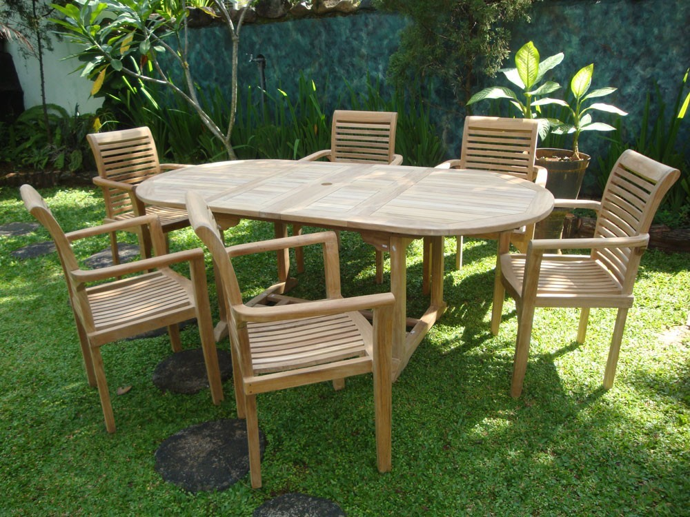 "Buckingham 82 x 39"" Oval Double Leaf Teak Extension Table W/6 Casa Blanca Teak Stacking Chairs...seats 6"