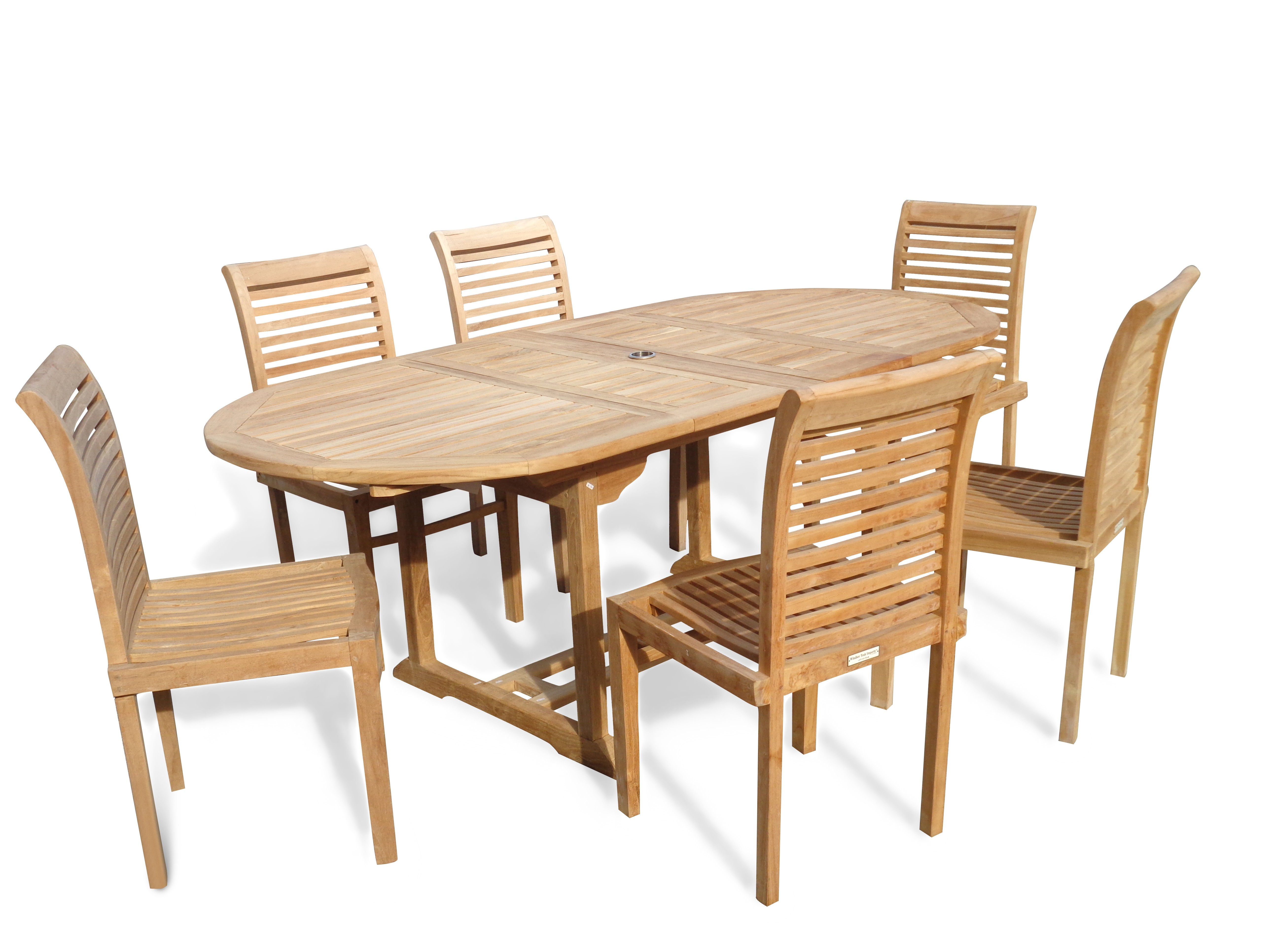 "Buckingham 82"" x 39"" Double Leaf Oval Extension Teak Table W/6 Casa Blanca Armless Stacking Chairs."