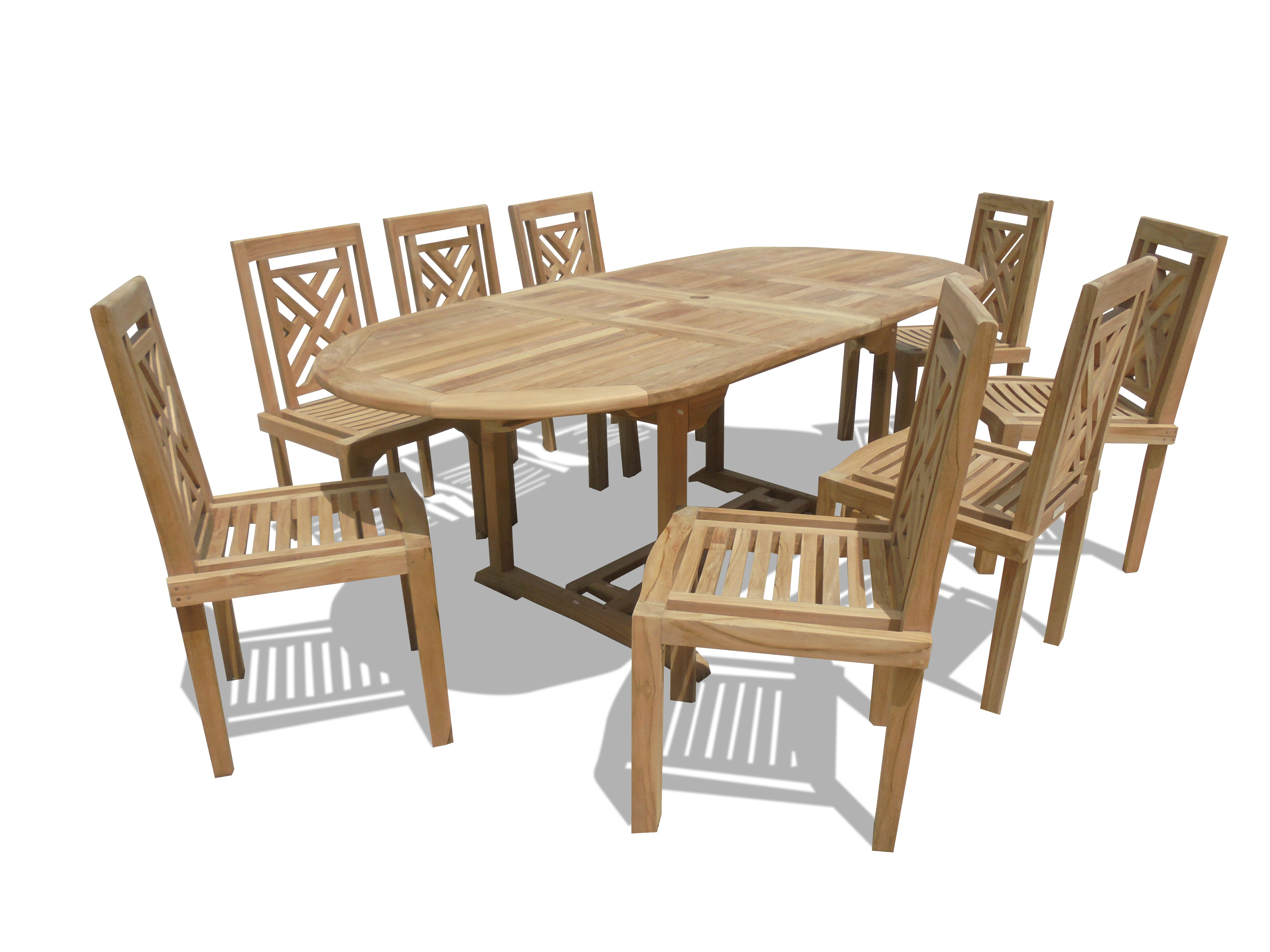 "Buckingham 82"" x 39"" Double Leaf Oval Extension Teak Table W/8 Chippendale Stacking Chairs...seats 8"