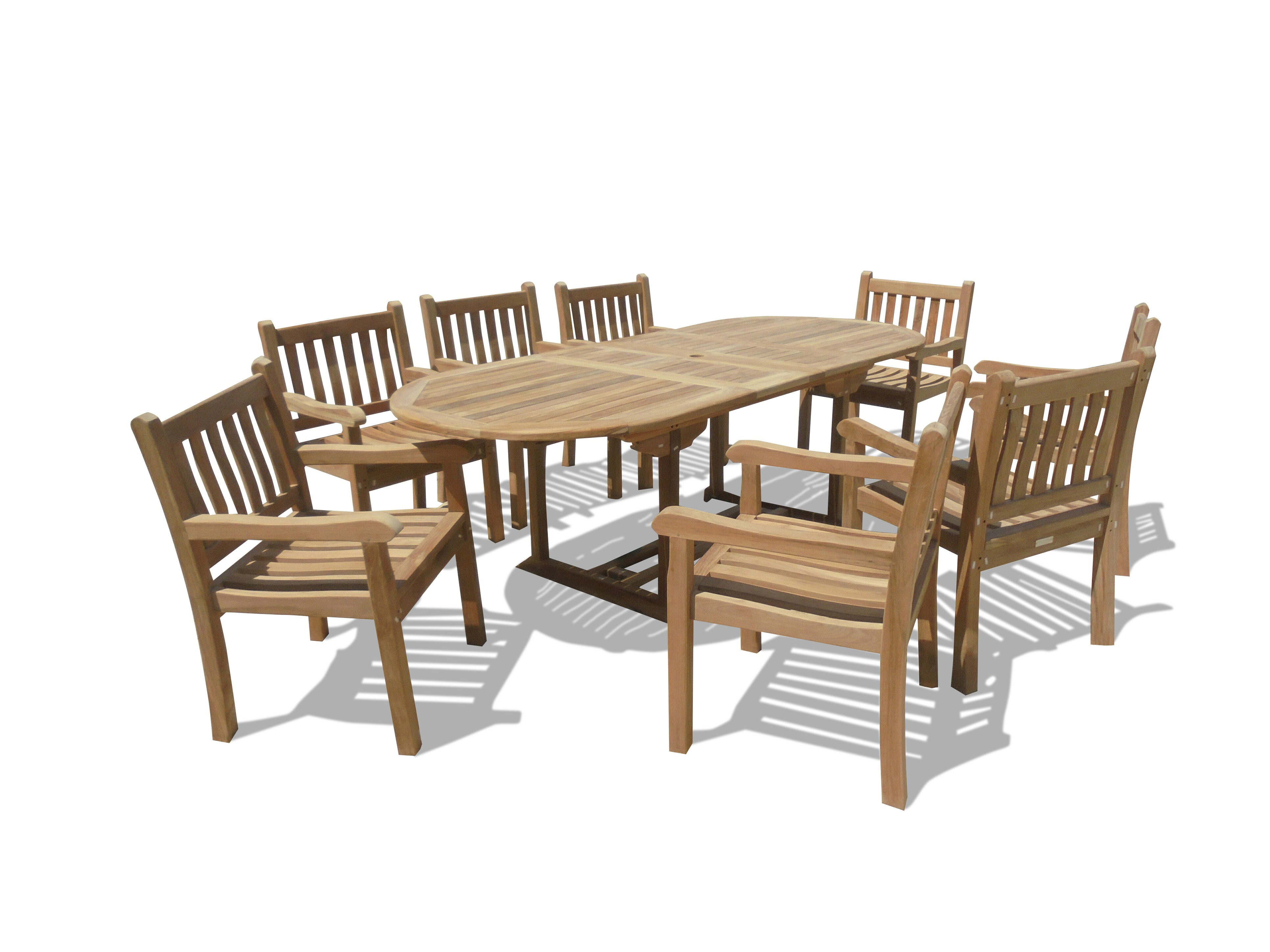 "Buckingham 82 x 39"" Oval Double Leaf Teak Extension Table w/8 Majestic Windsor Arm Chairs...seats 8"