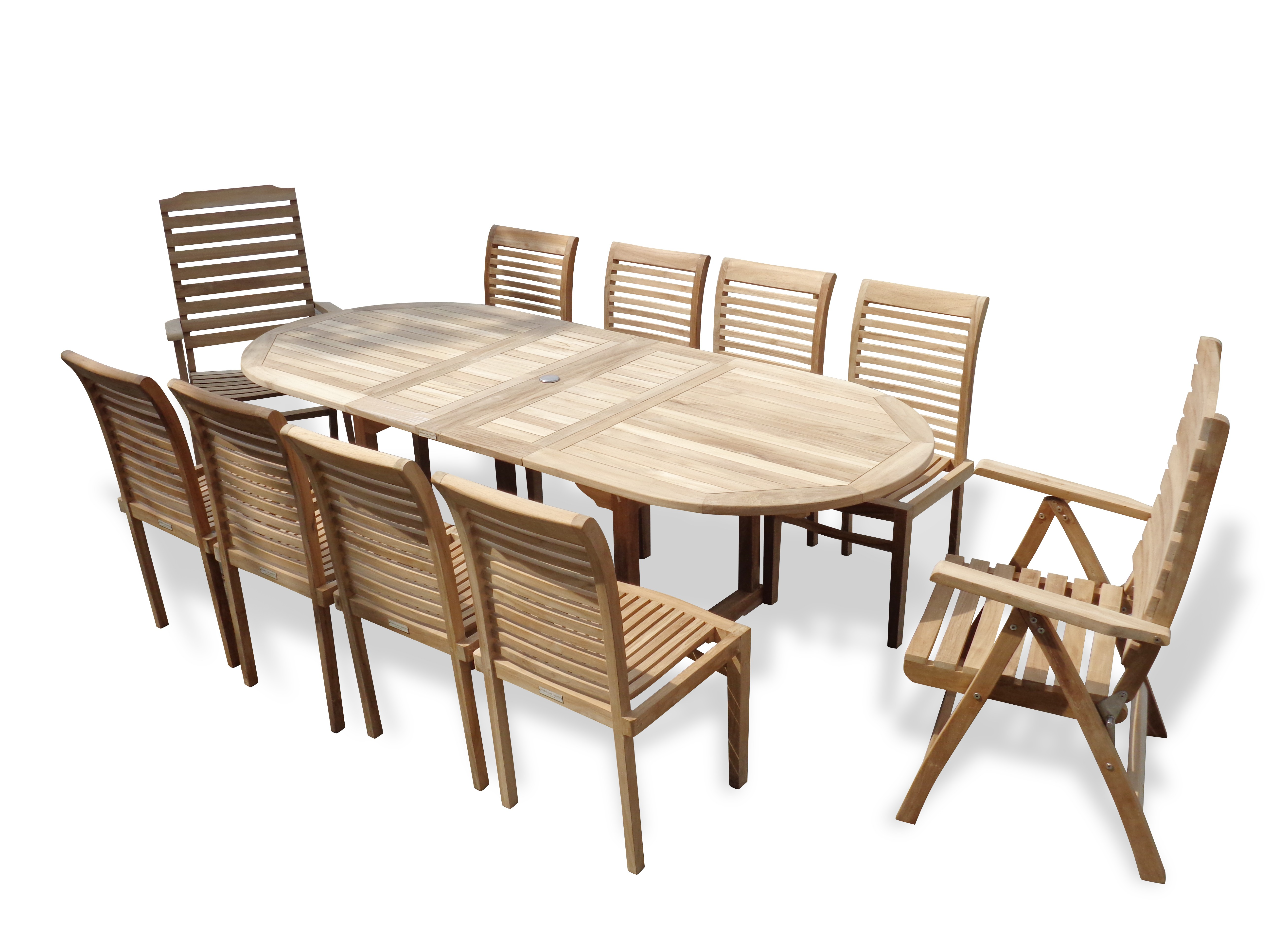 """Buckingham 95"""" x 39"""" Oval Teak Extension Table w/8 Armless Casa Blanca Stacking Chairs & 2 Reclining Folding Chairs...seats 10"""