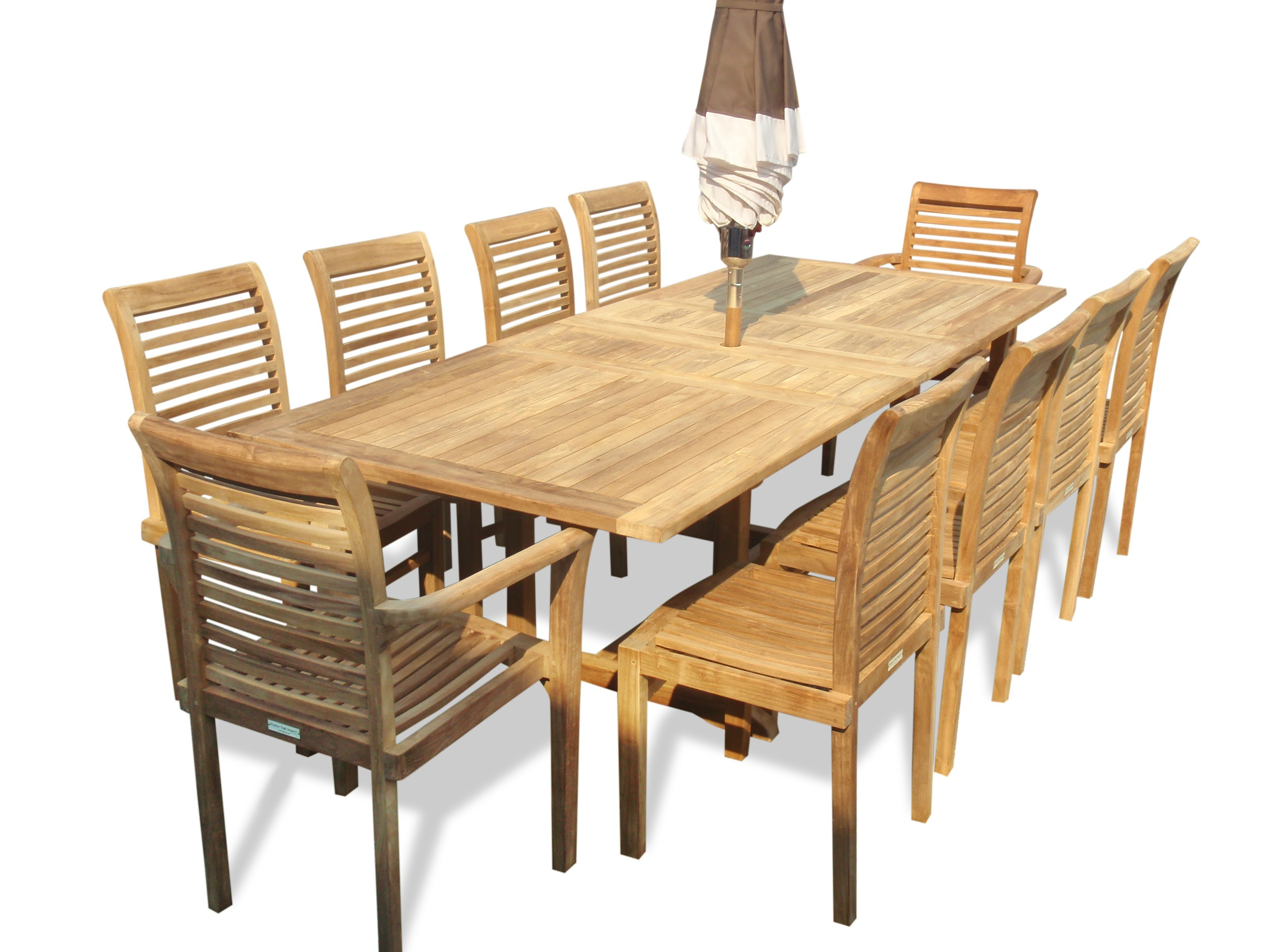 "Buckingham 95"" x 39"" Rectangular Extension Table w 10 Casa Blanca Stacking Chairs...(2w/arms & 8 w/o arms)"