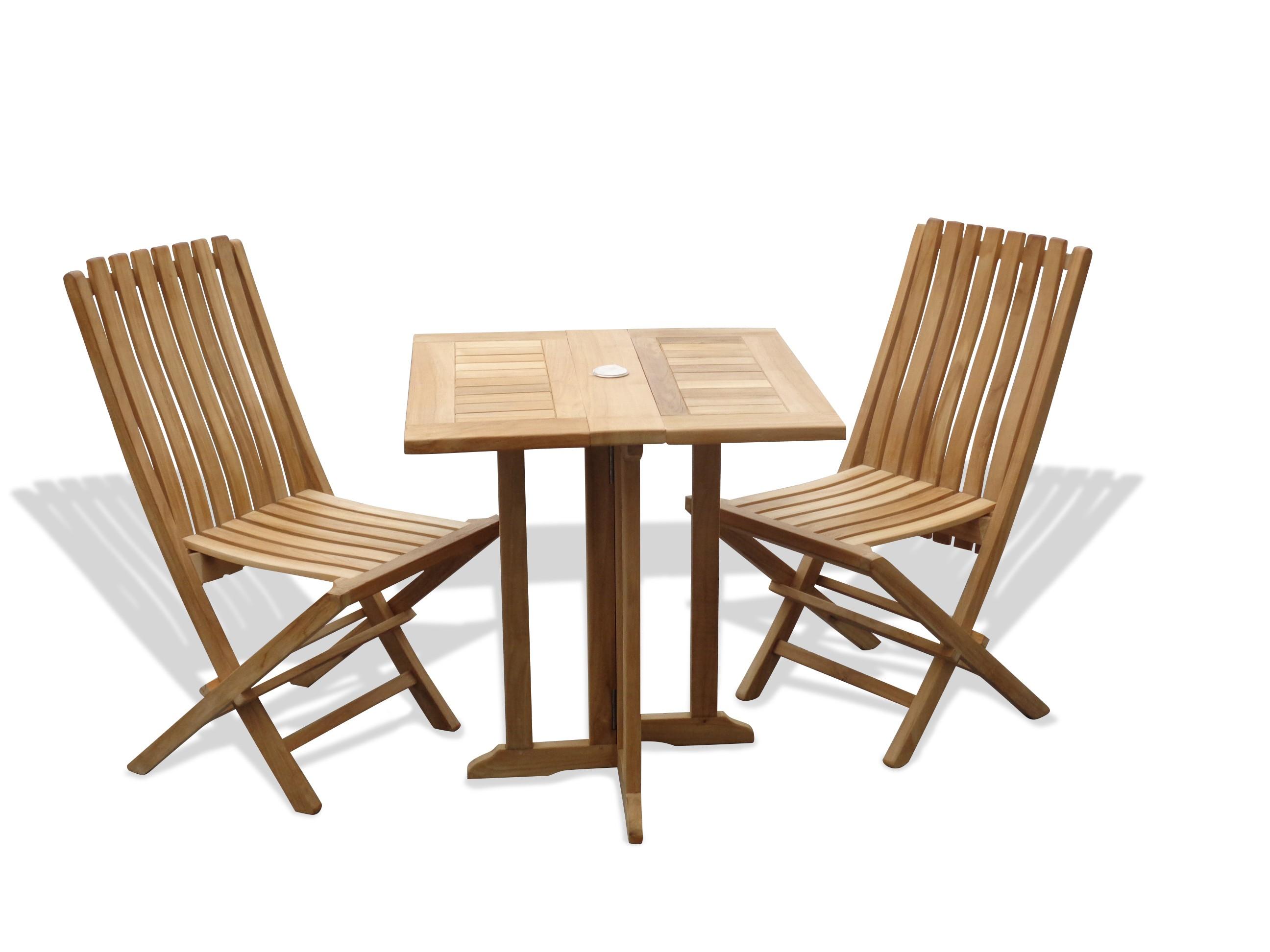 "Barcelona 27"" Square Drop Leaf Folding Teak Table W/2 Java Teak Folding Chairs W/Lumbar Support"