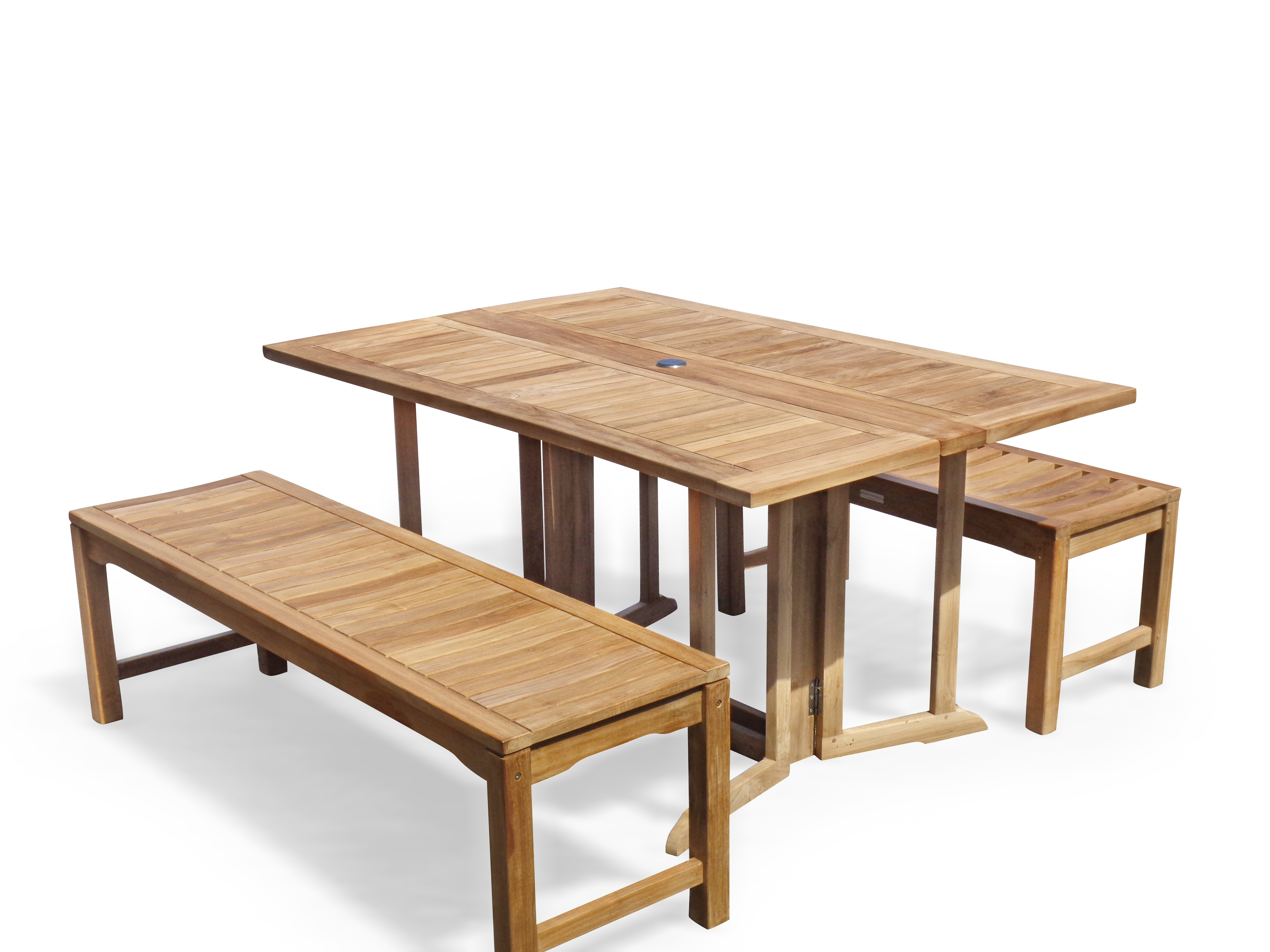 """Barcelona 59"""" x 39"""" Rectangular Drop Leaf Folding Teak Table W/two 59"""" Backless Benches...Seats 6 Adults"""