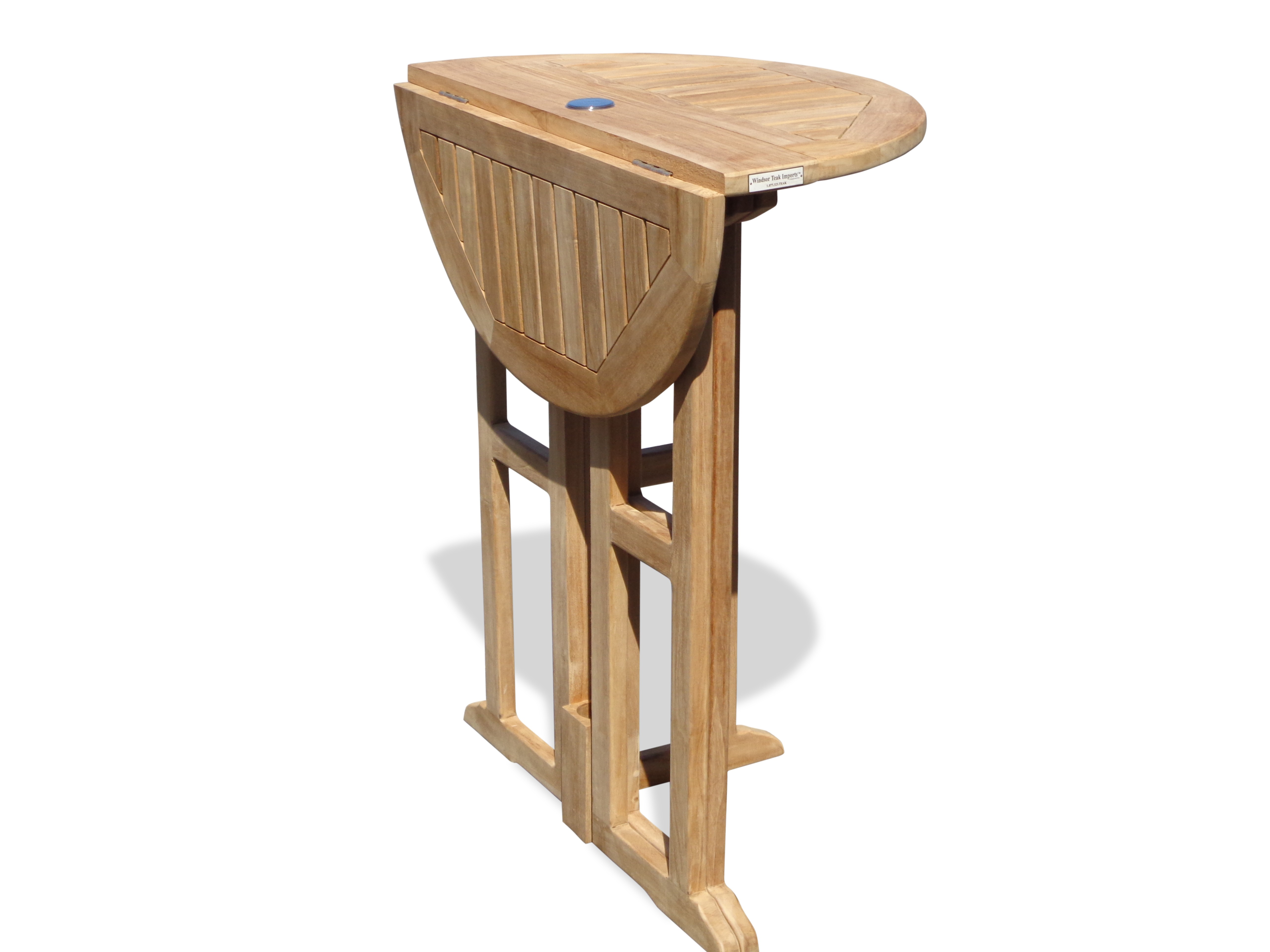 "Nassau 32"" Round Drop Leaf Folding Bar Table ...use with 1 Leaf Up or 2.... Makes 2 different tables!"