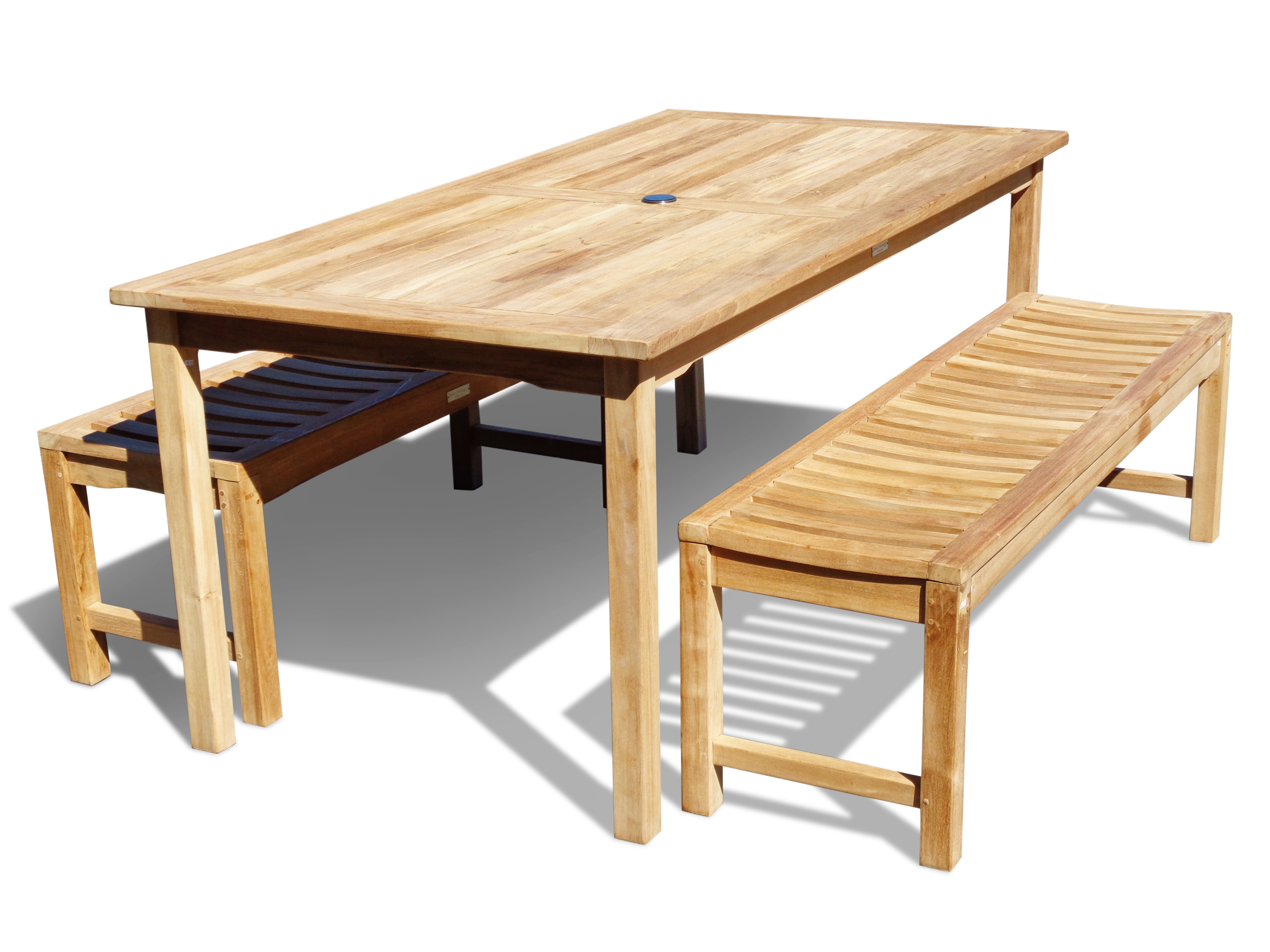 "Cannes 71"" x 35"" Rectangular Dining Table w/Two 59"" Contoured Seat Backless Benches...seats 6...add 2 Chairs & seat 8"