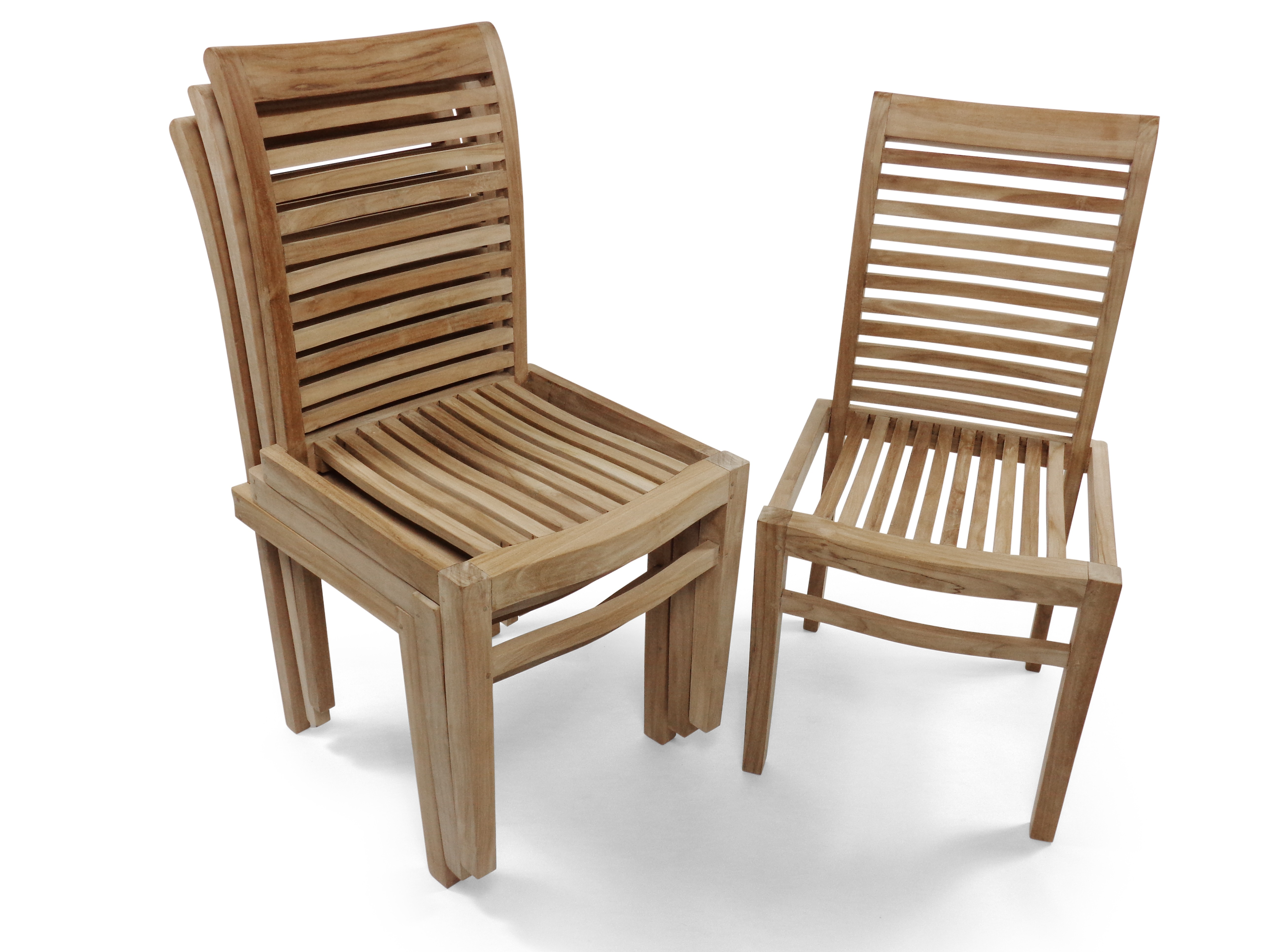 Casa Blanca Armless Teak Stacking Chair w Comfortable Contoured Seats, Packed and Price 4 per Box. Assembled.