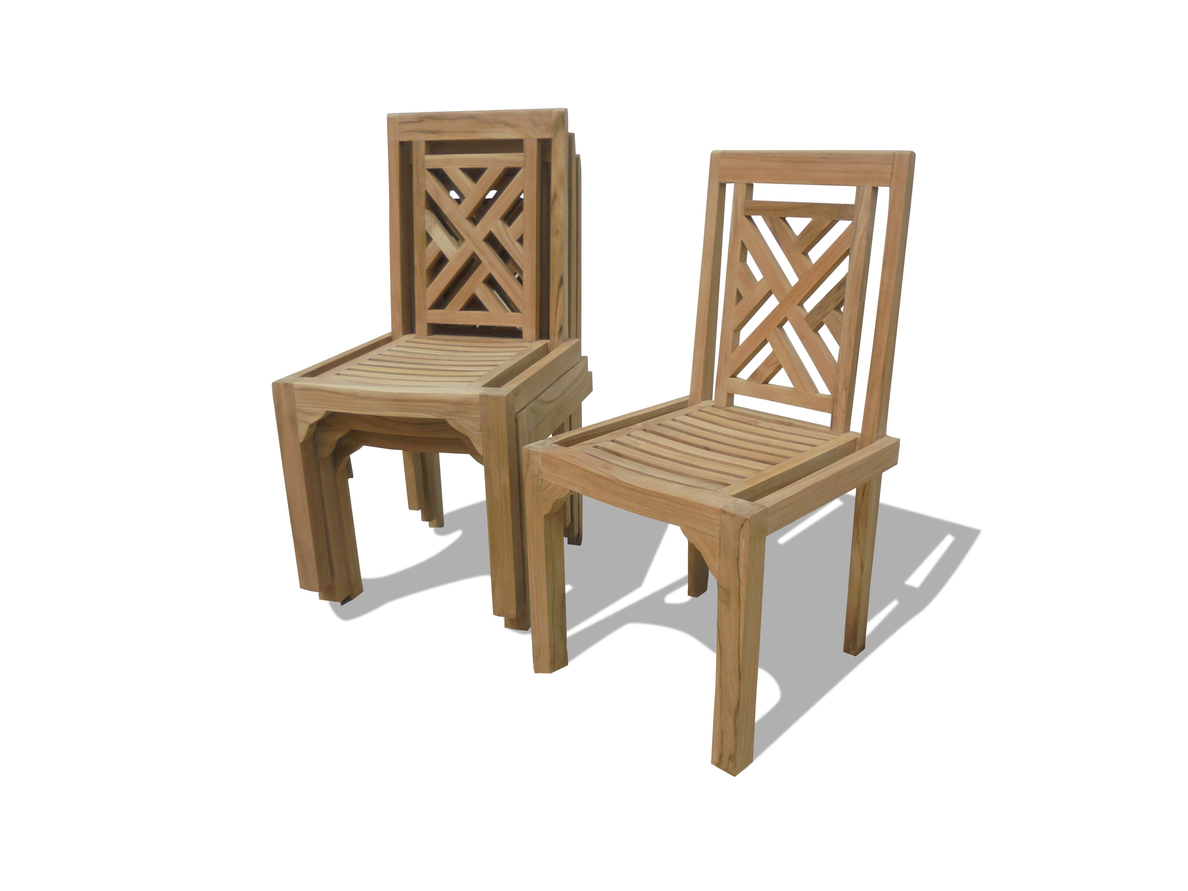 4 Pack-Chippendale Armless Teak Stacking Chair w/Comfortable Contoured seat
