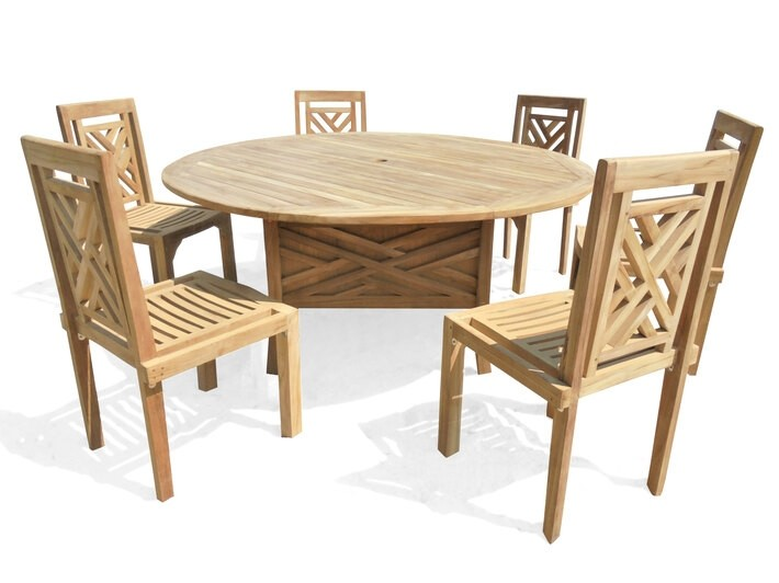 Our Exclusive...Chippendale 5 Foot Round Pedestal Table (60 Inches Across) W/6 Chippendale Teak Stacking Chairs