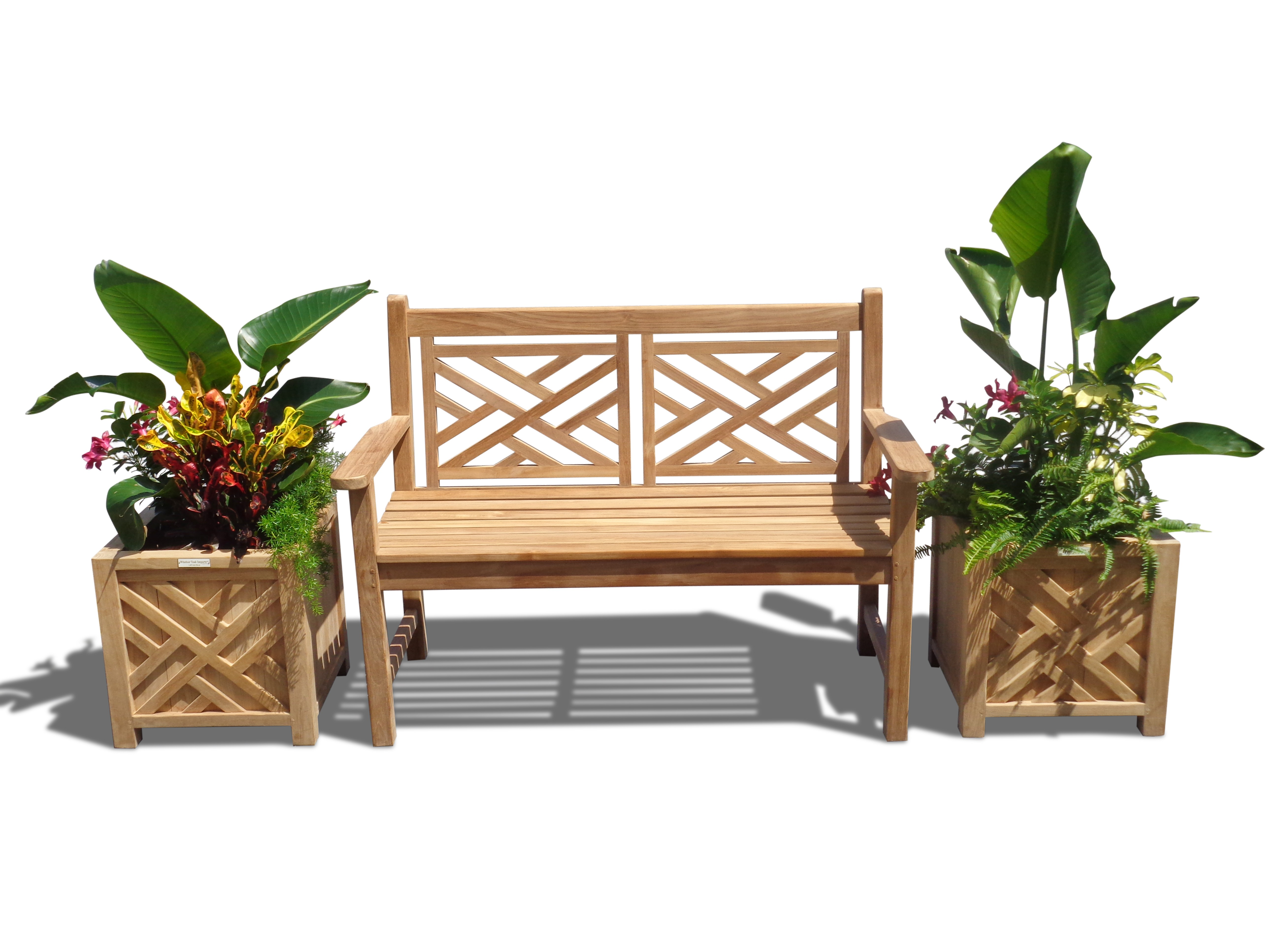 "Chippendale 3 Pc Teak Collection w/ One 48"" 2 Seater Bench and two 18"" Planters"
