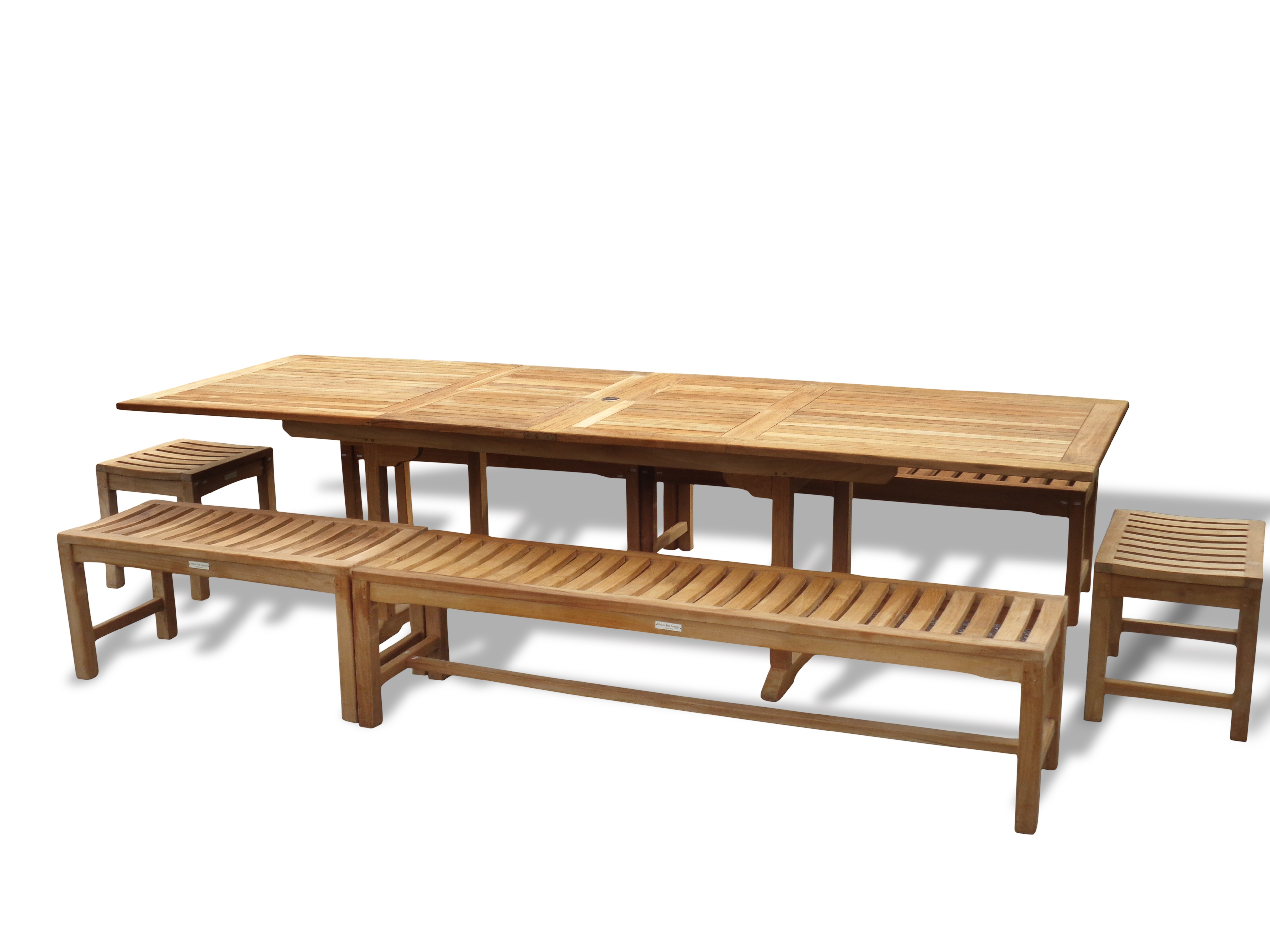 "Buckingham 108"" x 39"" Double Leaf Rectangular Extension Table w/6 Backless Benches...Seats 12 Adults"