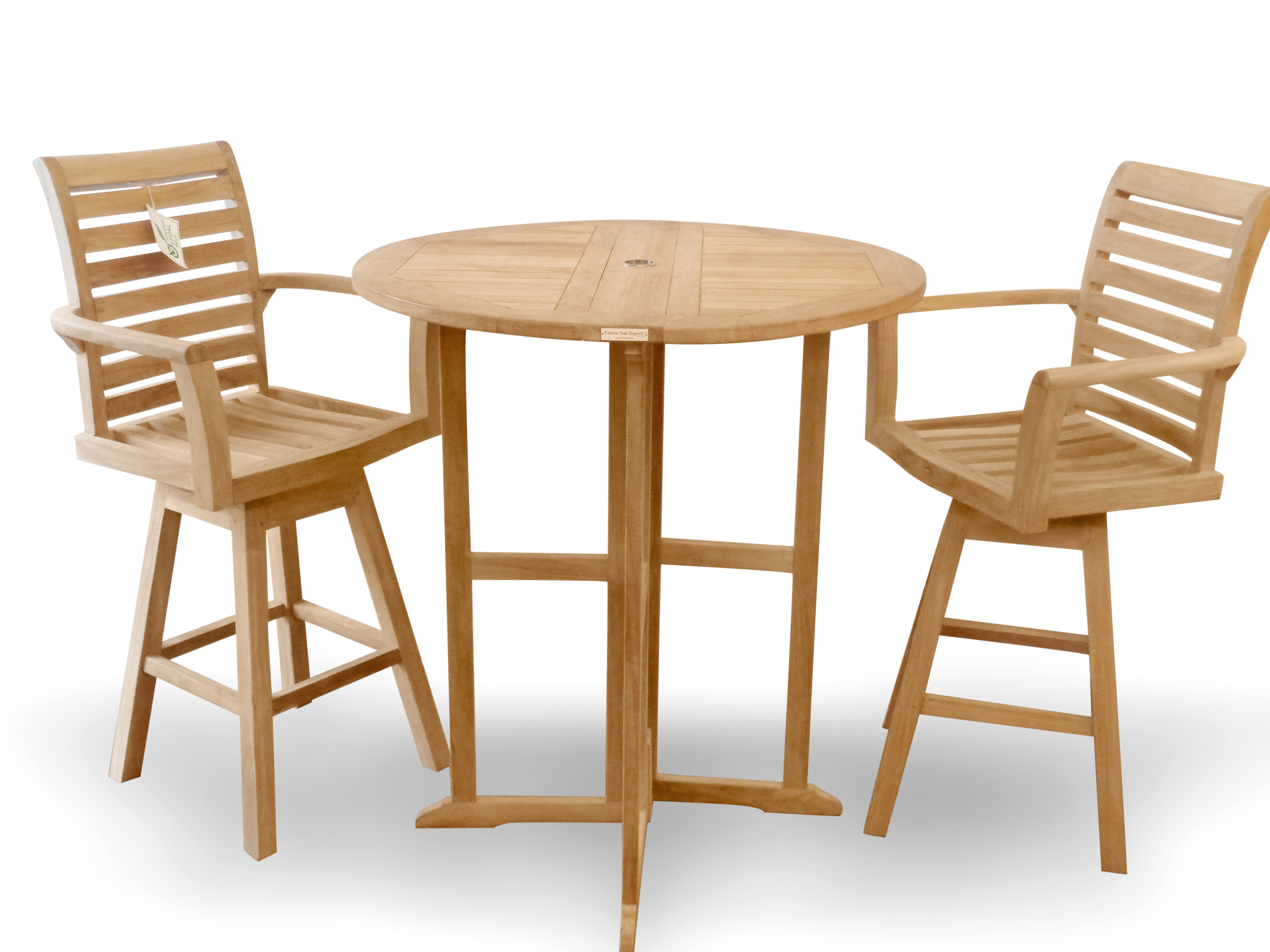 """Bimini 39"""" Round Drop Leaf Counter Table w/2 St. Moritz Swivel Counter Chairs (Counter Height is 5"""" lower than bar)"""