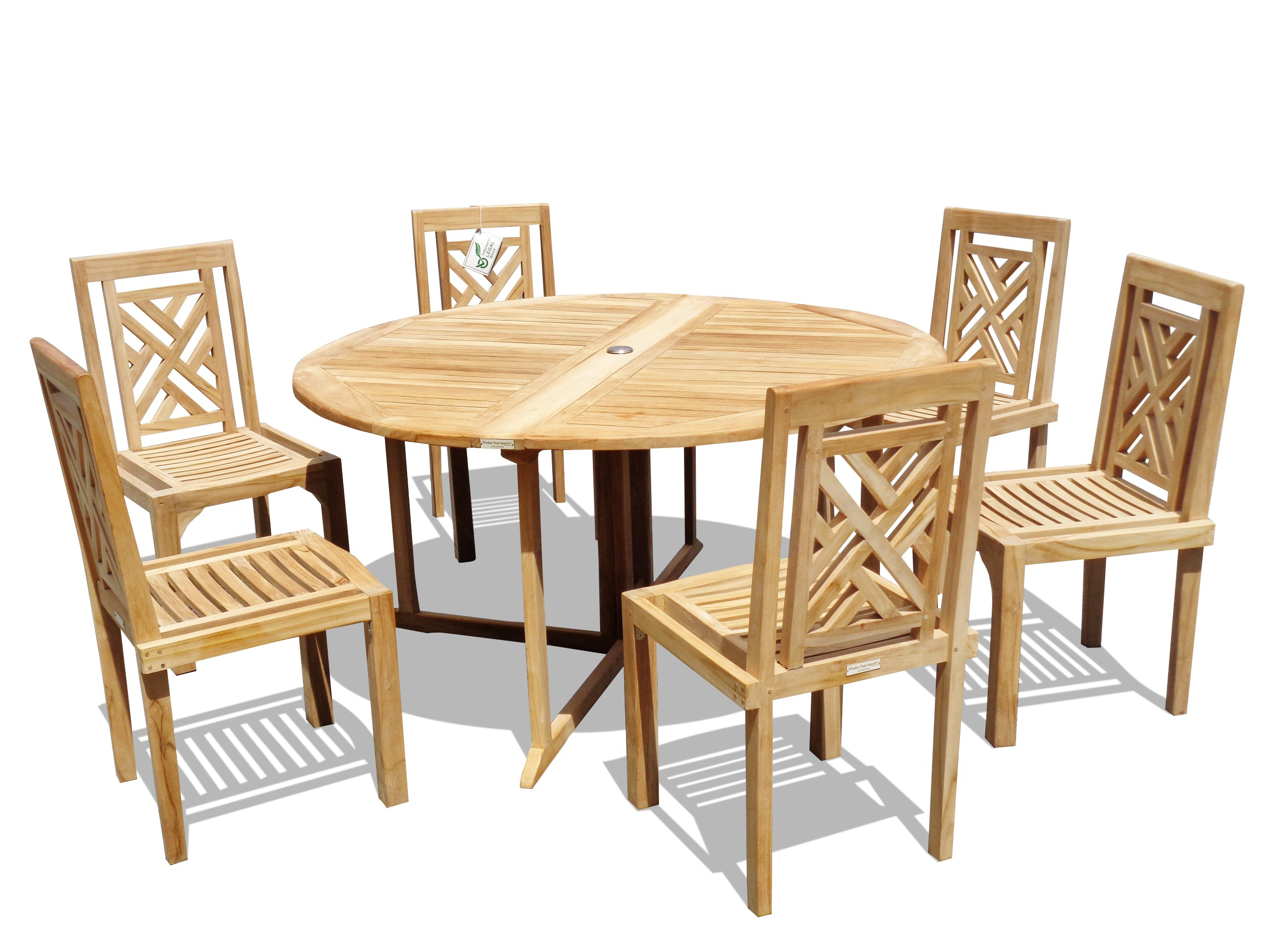 "Barcelona 59"" Round Drop Leaf Folding Teak Table W/6 Chippendale Teak Stacking Chairs"