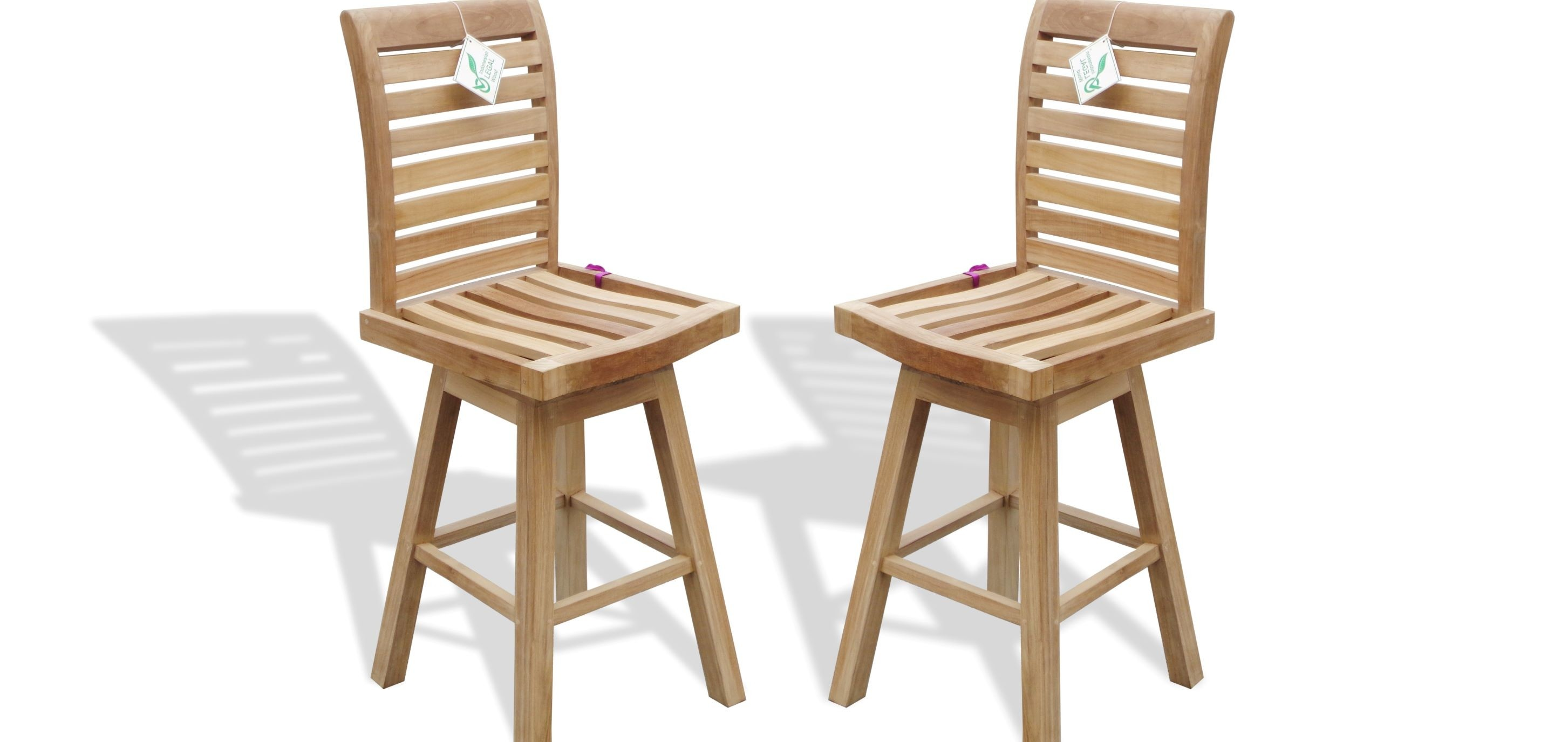 """St. Moritz Teak Armless Swivel Counter Chairs (Counter height is 5"""" lower than bar). 2 Pack"""