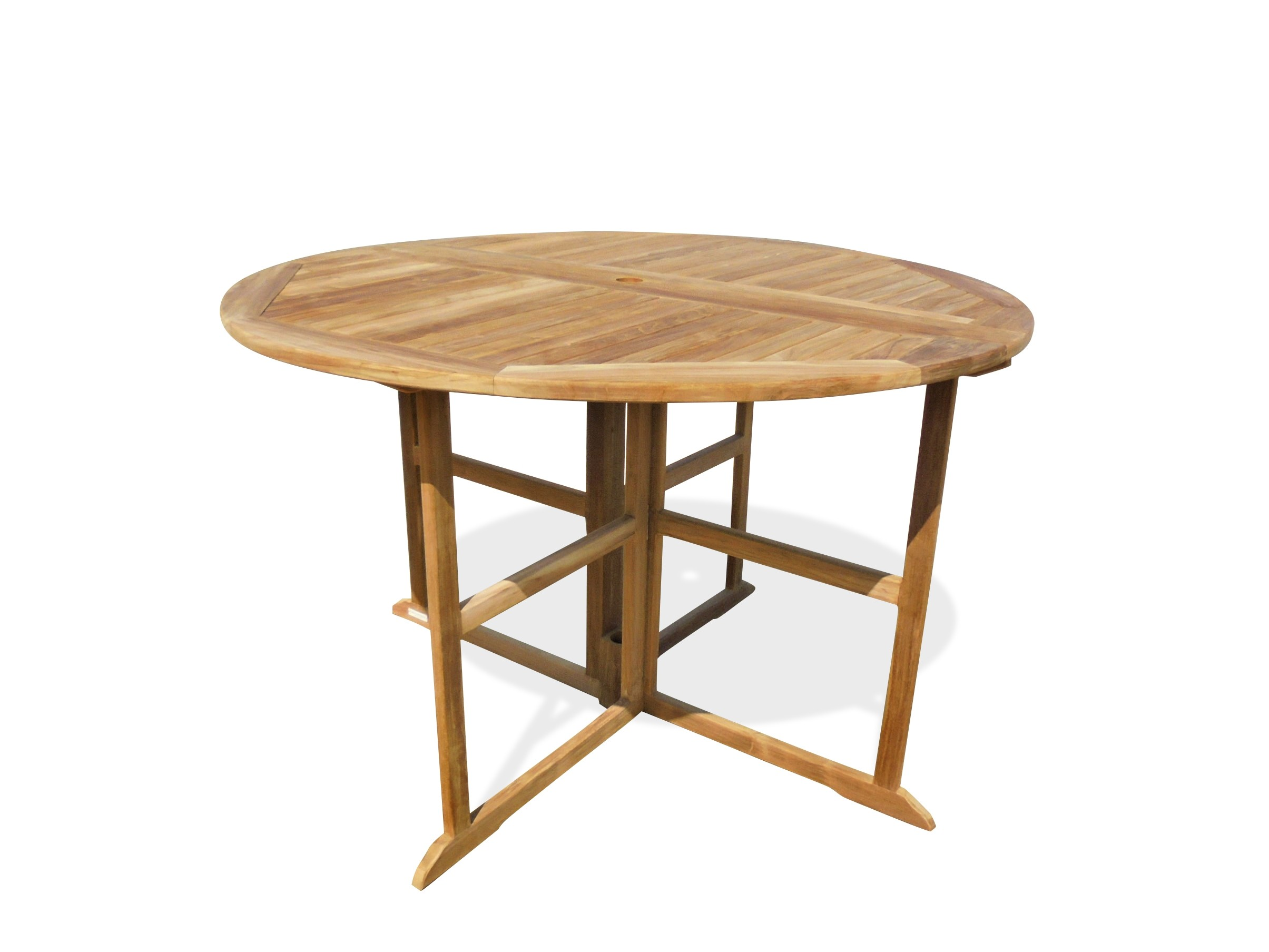 """Bimini 59"""" Round Drop Leaf Folding Teak Counter Table (seats 6)...use w/ 1 Leaf Up or 2....Makes 2 different tables (Counter height is 5"""" lower than bar)"""