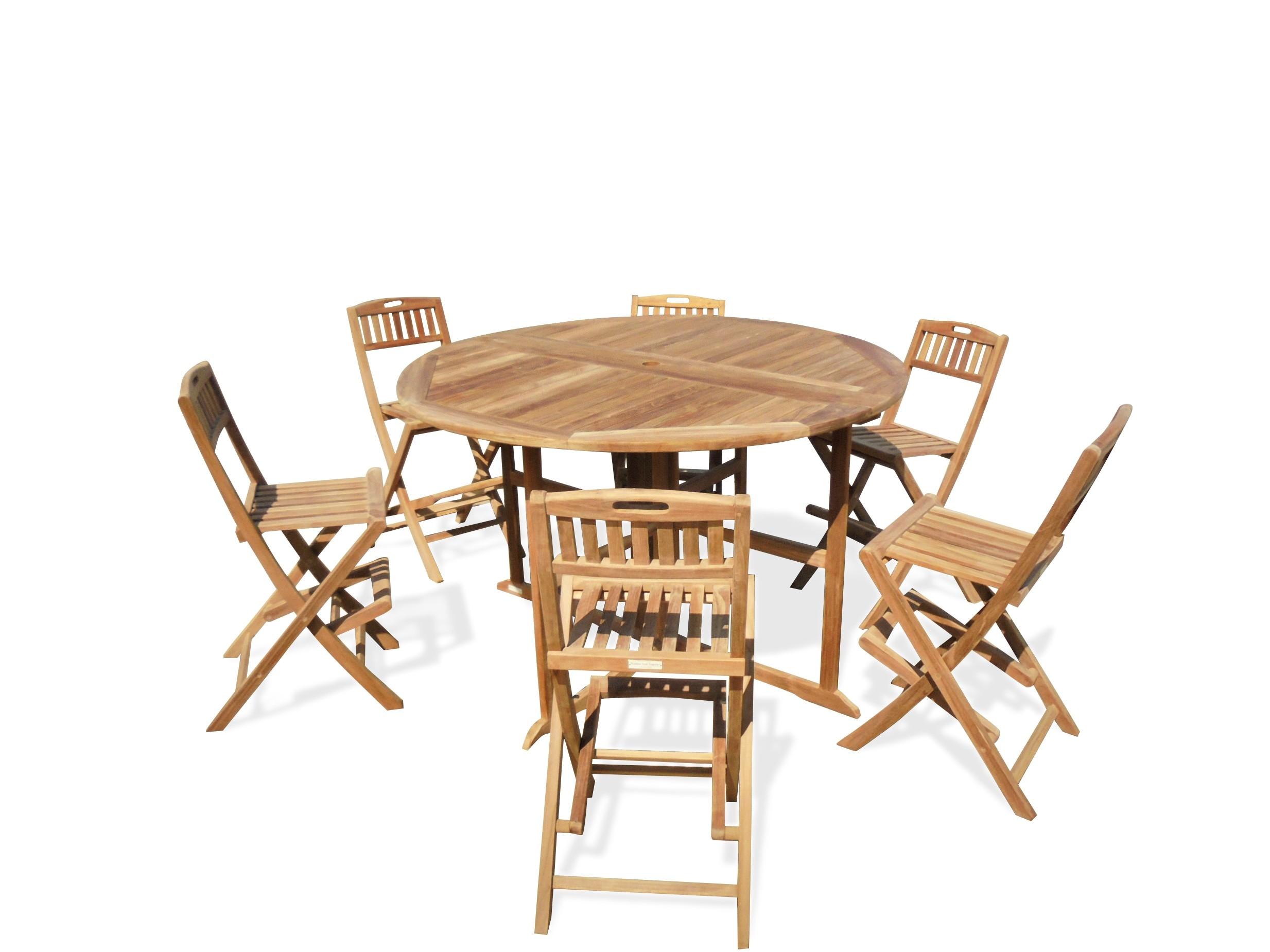 "Bimini 59"" Round Drop Leaf Folding Counter Table W/6 Mallorca Folding Counter Chairs (Counter height is 5"" lower than bar)"