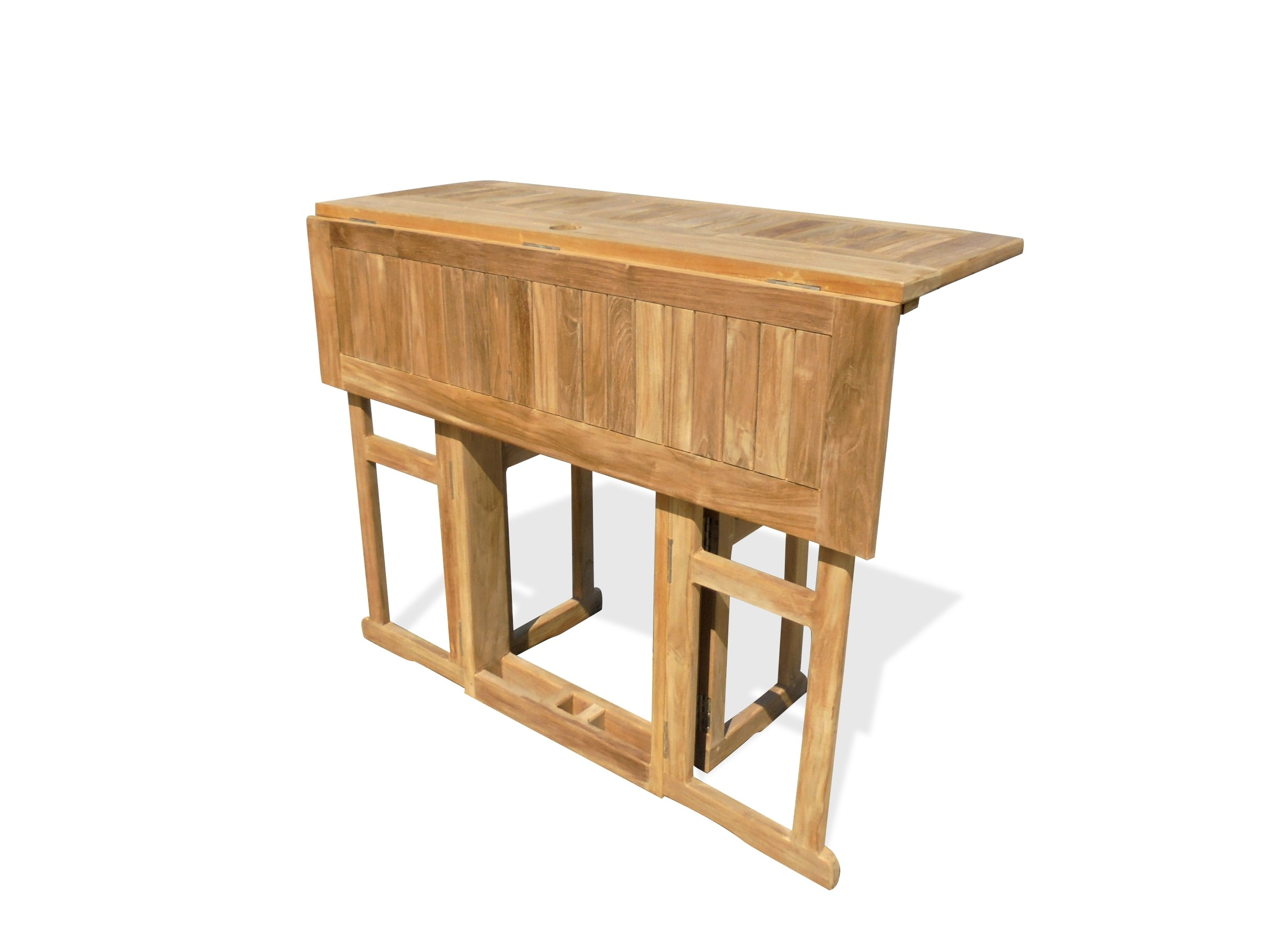 "Bimini 48"" x 31"" Rectangular Teak Drop Leaf Folding Counter Table...use with 1 Leaf Up or 2.... Makes 2 different tables (Counter Height is 5"" Lower then Bar)"