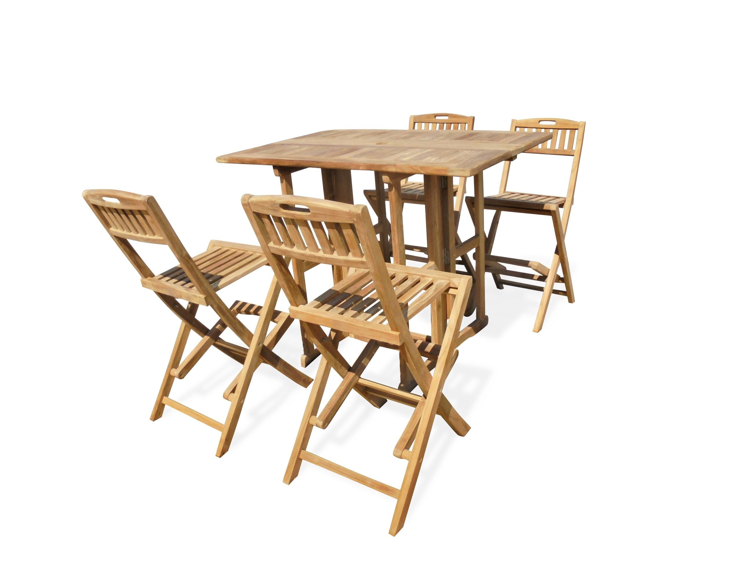 "Nassau 48"" x 31"" Rectangular Drop Leaf Folding Bar Table W/4 Mallorca Folding Bar Chairs (Counter height is 5"" lower than bar)"